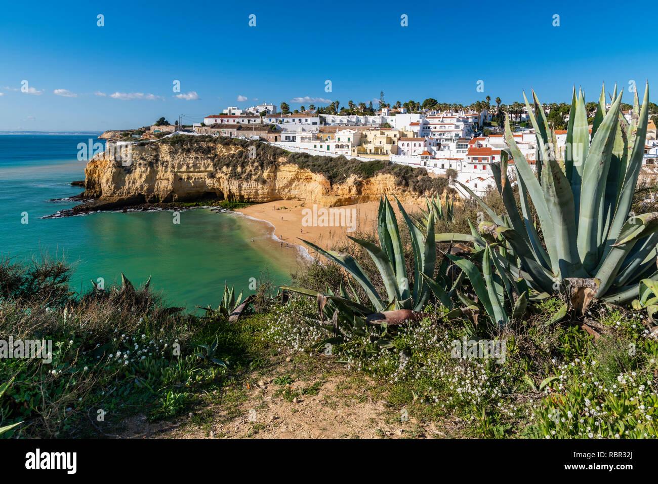 Praia de Carvoeiro, Carvoeiro, Lagoa, Algarve, Portugal Stock Photo