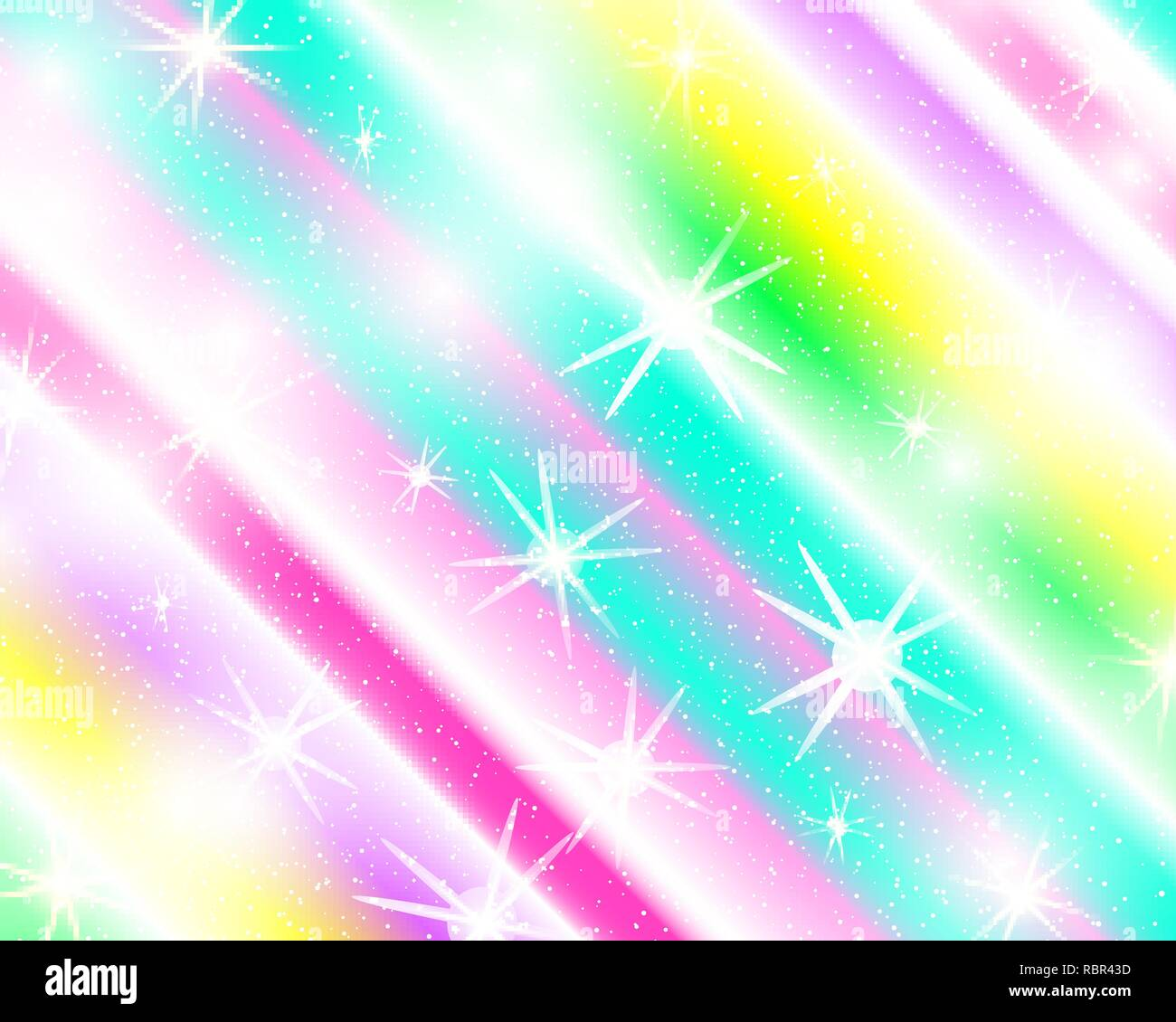 unicorn rainbow background holographic sky in pastel color bright mermaid pattern in princess colors vector illustration fantasy gradient colorful RBR43D