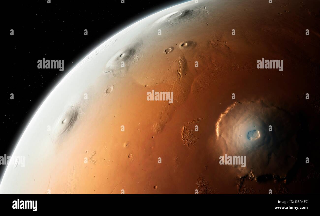 Mars - Tharsis region. Tharsis is a volcanic plateau in Mars' western hemisphere. It is home to several volcanoes, including Olympus Mons (bottom right), the largest volcanic feature in the Solar System. On the left limb of the planet can be seen the three smaller but still substantial extinct volcanoes Arsia Mons (bottom), Pavonis Mons (middle) and Ascraeus Mons (top). These three volcanoes range in size from 350 to 450 kilometres (km) across and they each have a height of approximately 15 km. - Stock Image
