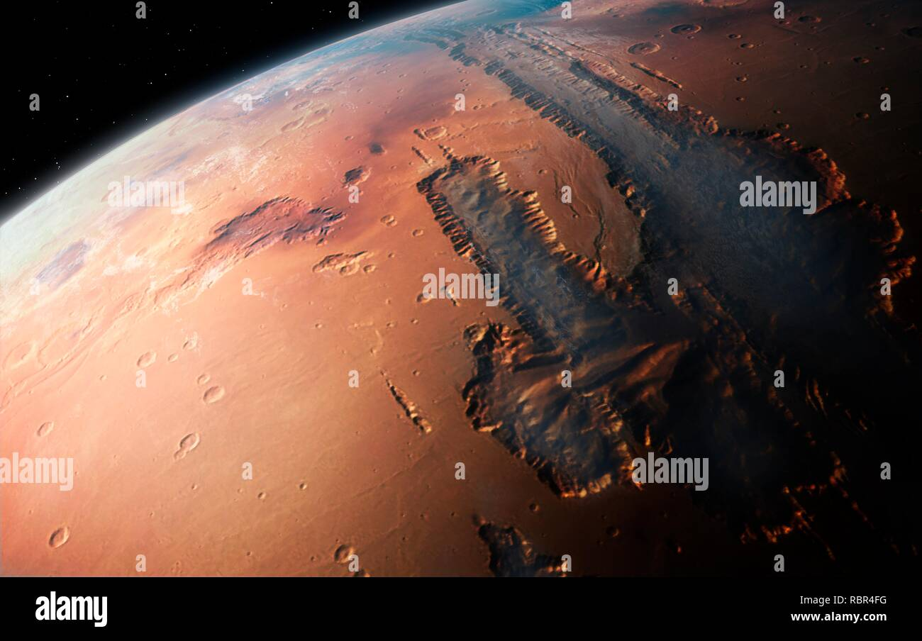 Illustration of an oblique view of the giant Valles Marineris canyon system on Mars. The Valles Marineris is over 3000 km long and up to 8 km deep, dwarfing the Grand Canyon of Arizona. The canyons were formed by a combination of geological faulting, landslides, and erosion by wind and ancient water flows. The view is looking west, from an altitude of about 2000 km, and shows the canyon filled with low-altitude fog and cloud. - Stock Image
