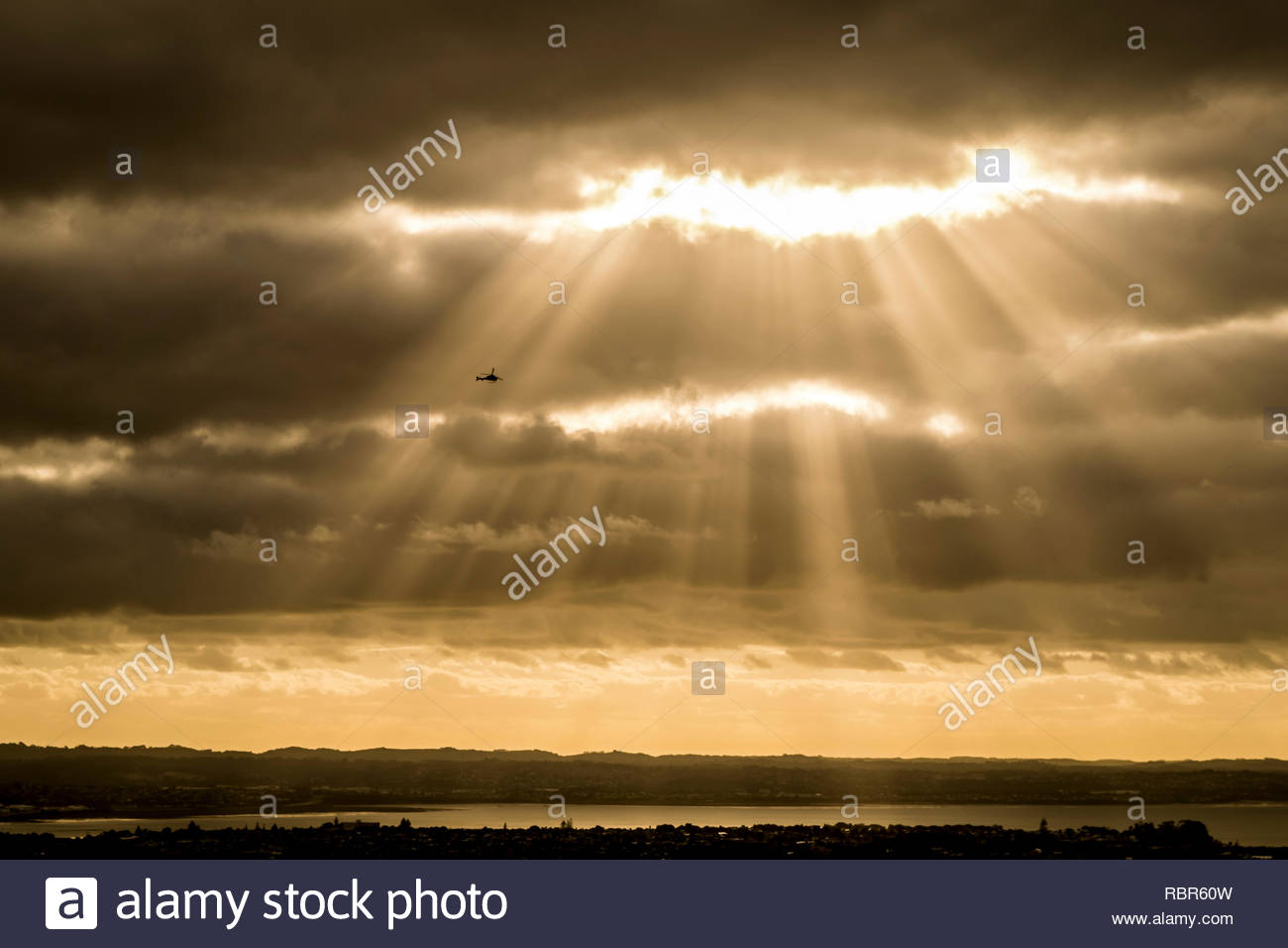 Sunset over Mt Eden, Auckland - Stock Image