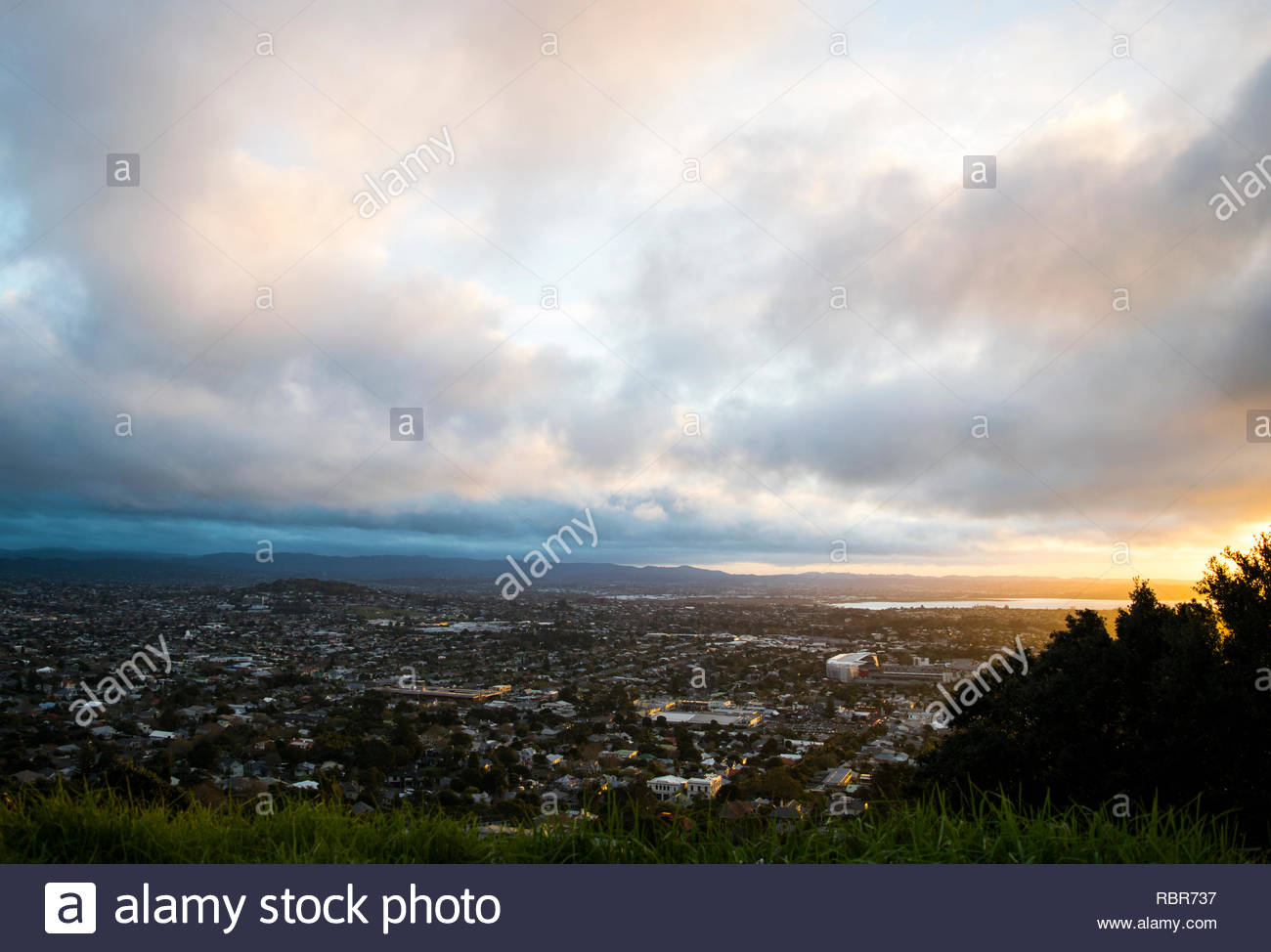 Sunset from Mt Eden - Stock Image
