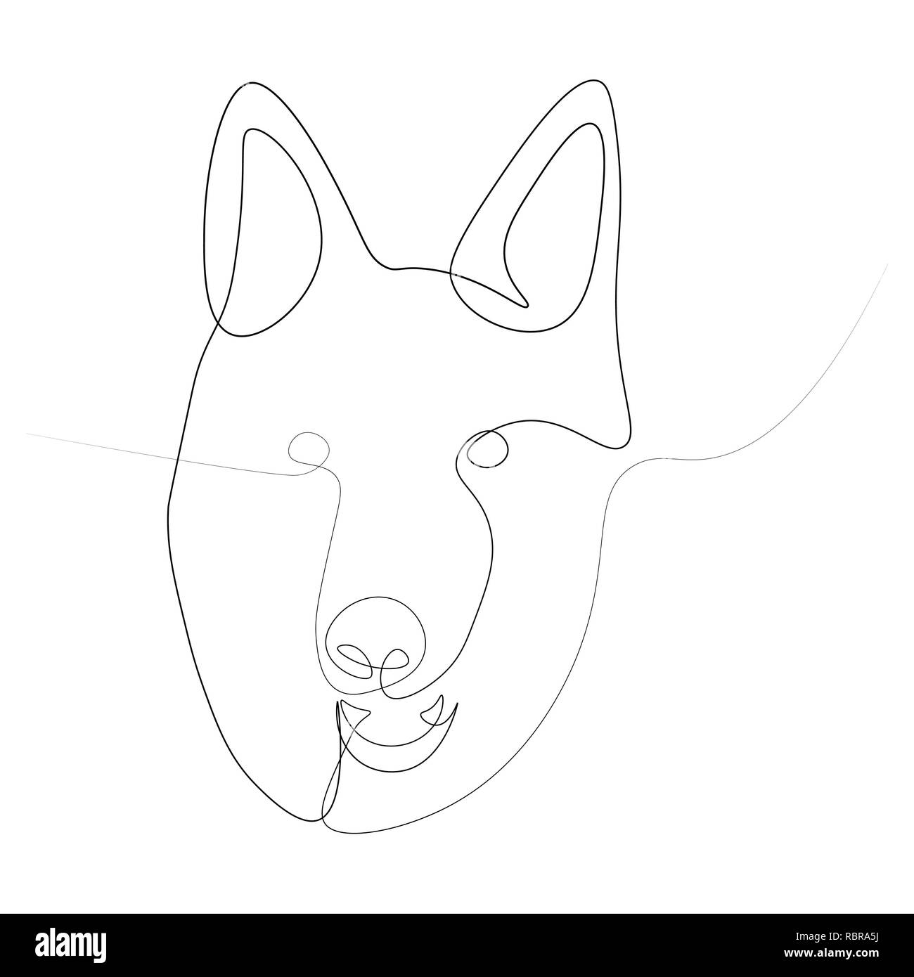 The head of the German shepherd in one line.  illustration on white background. - Stock Image