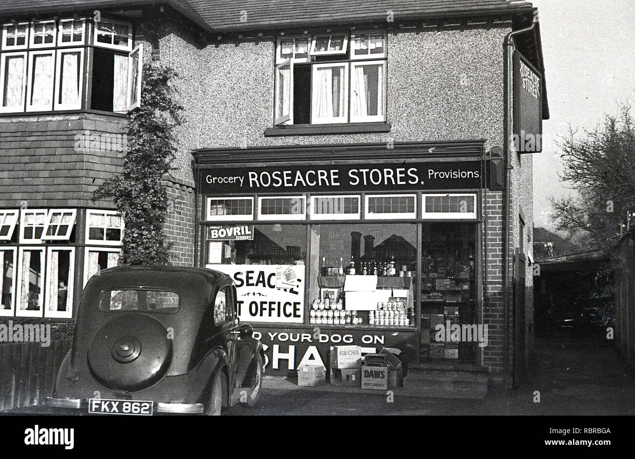 1950s Historical Car Of The Era Parked Outside Roseacre Stores And Post Office
