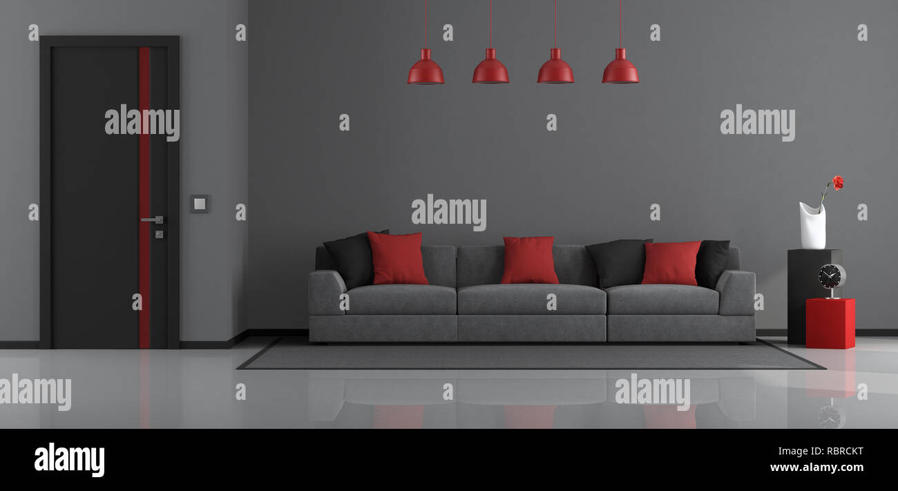 Gray Black And Red Modern Living Room With Modern Sofa And Closed Door 3d Rendering Stock Photo Alamy