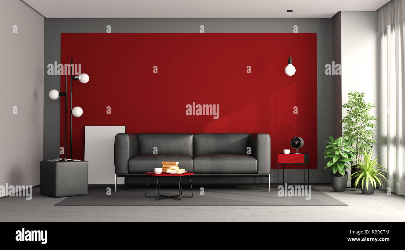 Living room with black sofa against red wall - 3d rendering Stock ...