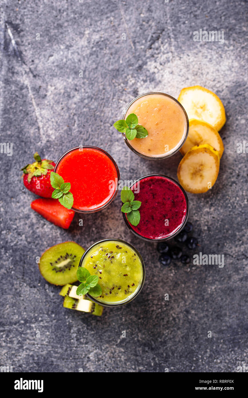 Assortment of various healthy smoothies - Stock Image