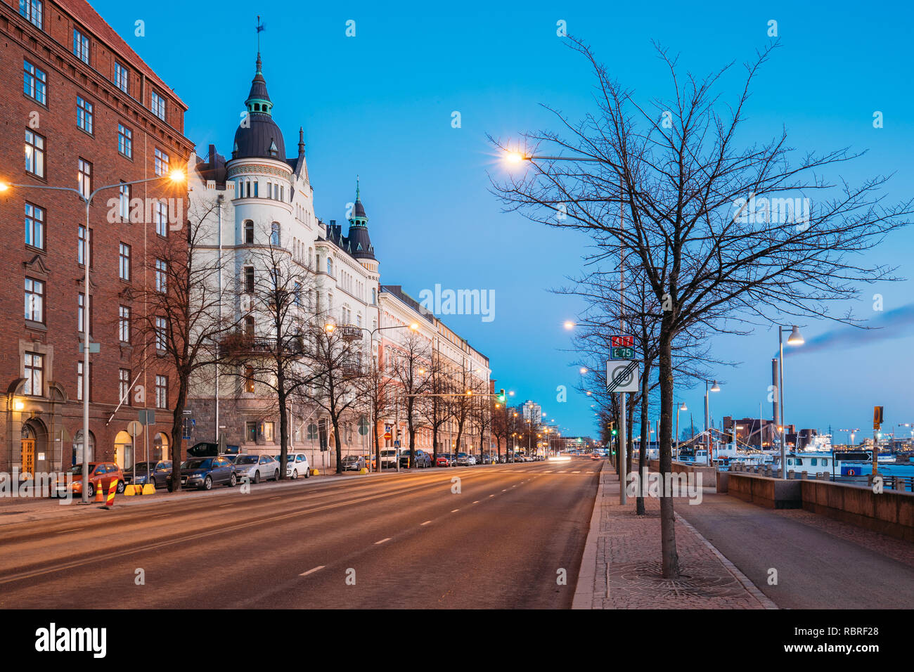 Helsinki, Finland. Night Traffic In Pohjoisranta Street In Night Illumination. Stock Photo