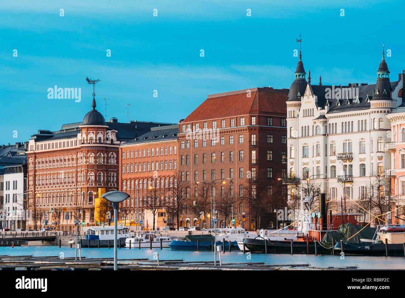 Helsinki, Finland. View Of Pohjoisranta Street - Stock Image