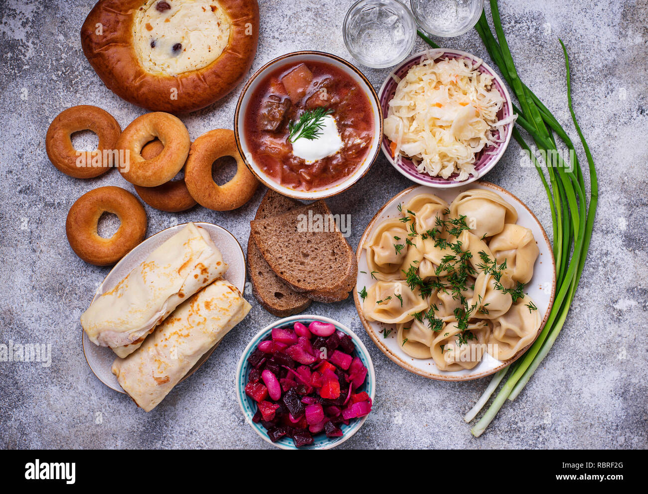 Traditional Russian dishes, sweets and vodka - Stock Image