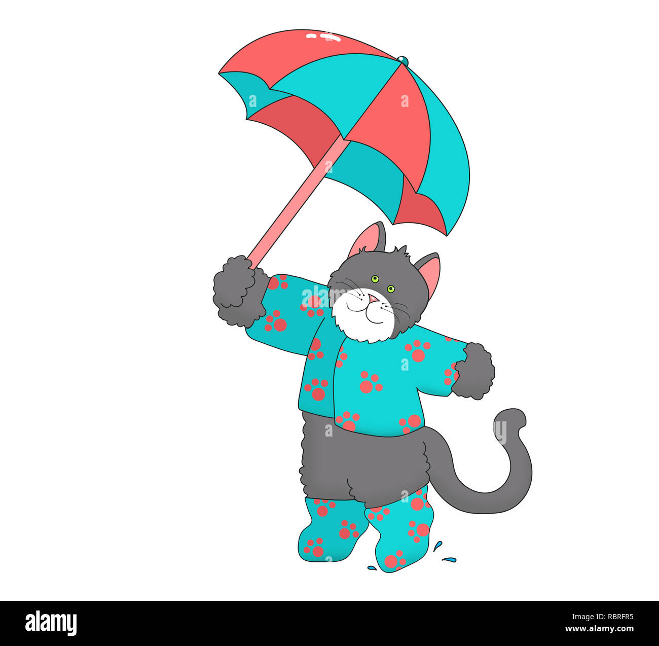 Illustration of a gray cat/kitten wearing teal clothes and boots with orange paw prints, holding an umbrella against a white background - Stock Image