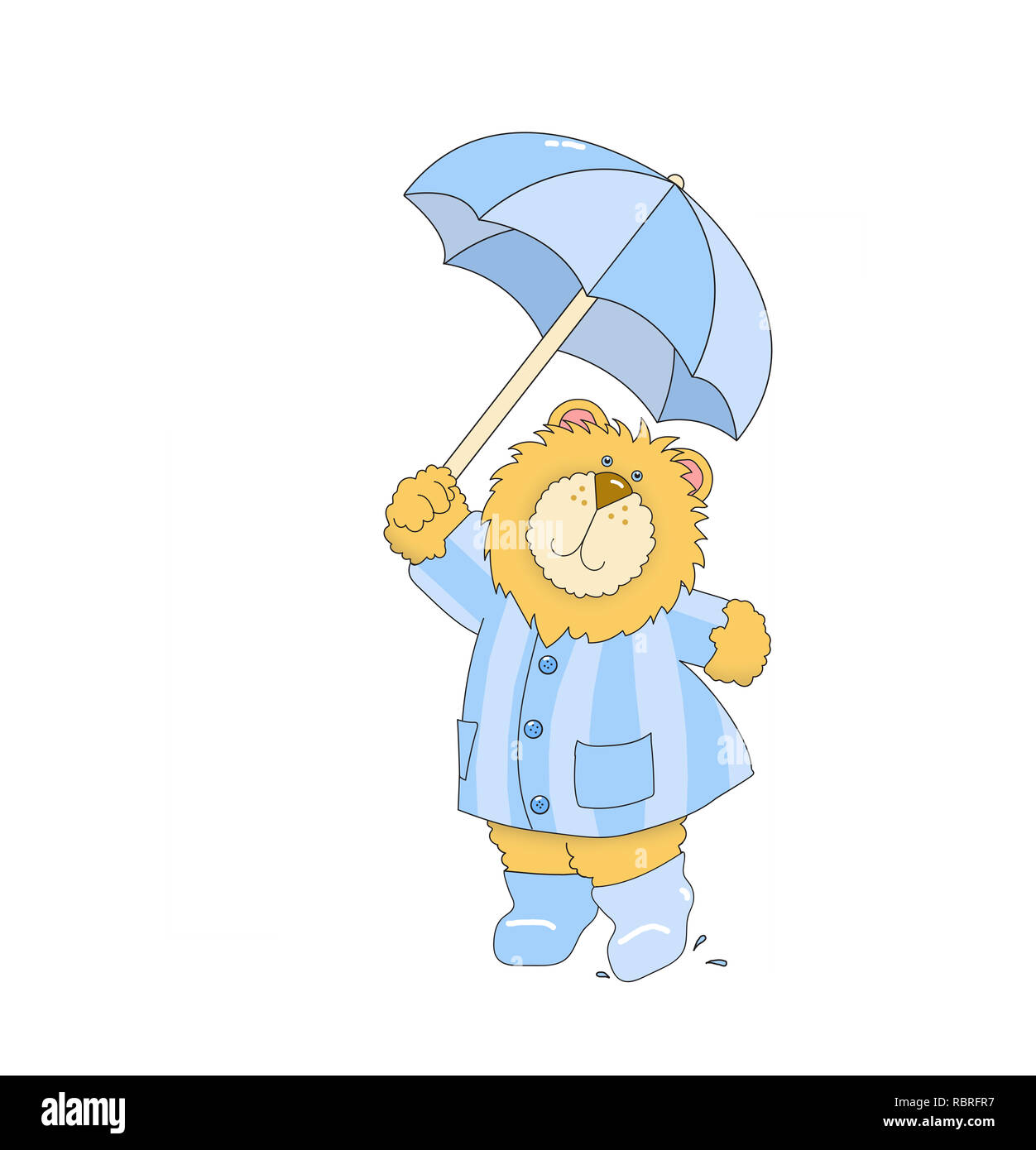 Illustration of a lion wearing a blue striped raincoat and boots, holding an umbrella against a white background - Stock Image