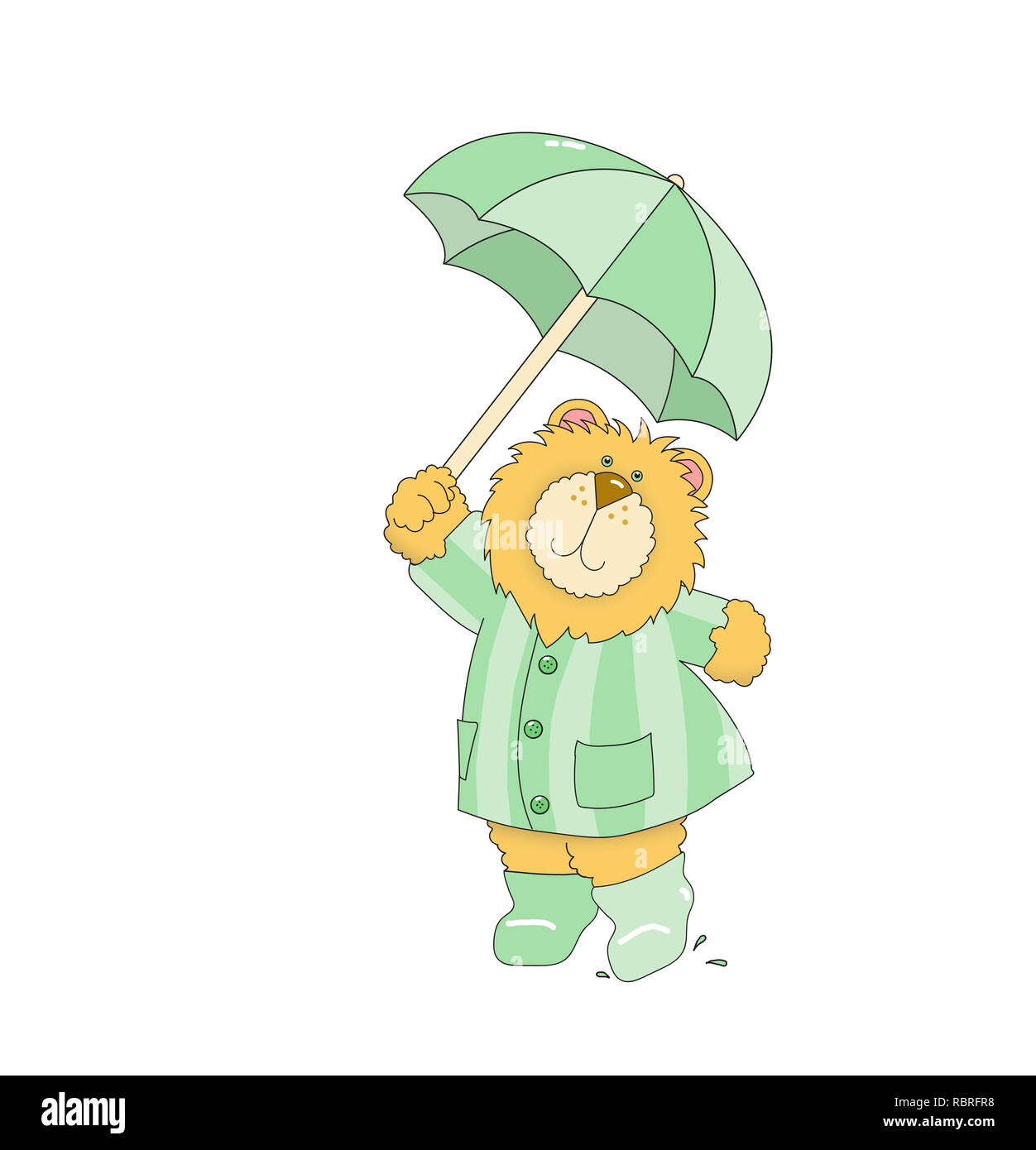 Illustration of a lion wearing a green striped raincoat and boots, holding an umbrella against a white background - Stock Image