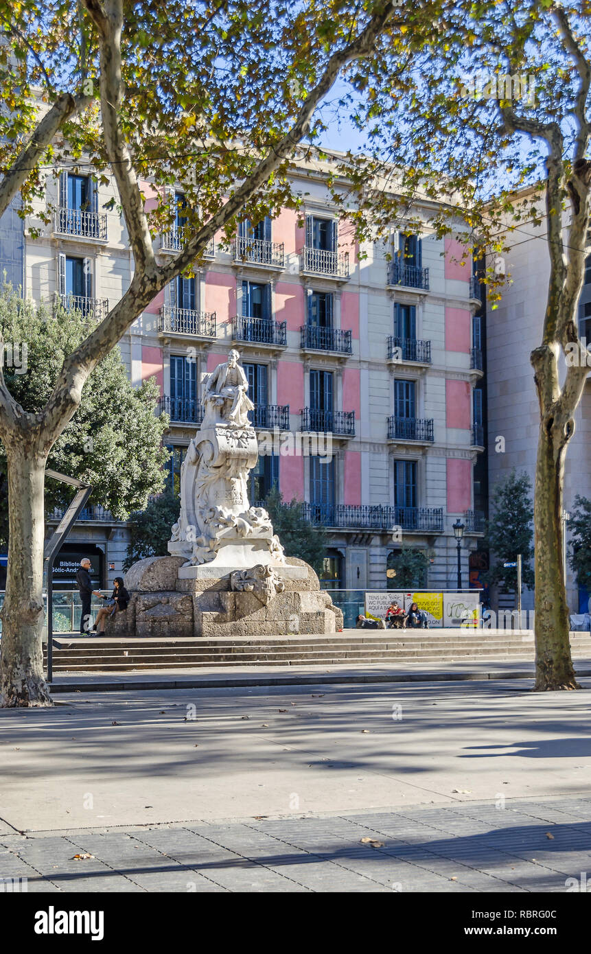 Barcelona, Spain - November 10, 2018:  Theater Square on the Rambla and the monument to the founder of the Catalan theater Frederic Soler Stock Photo