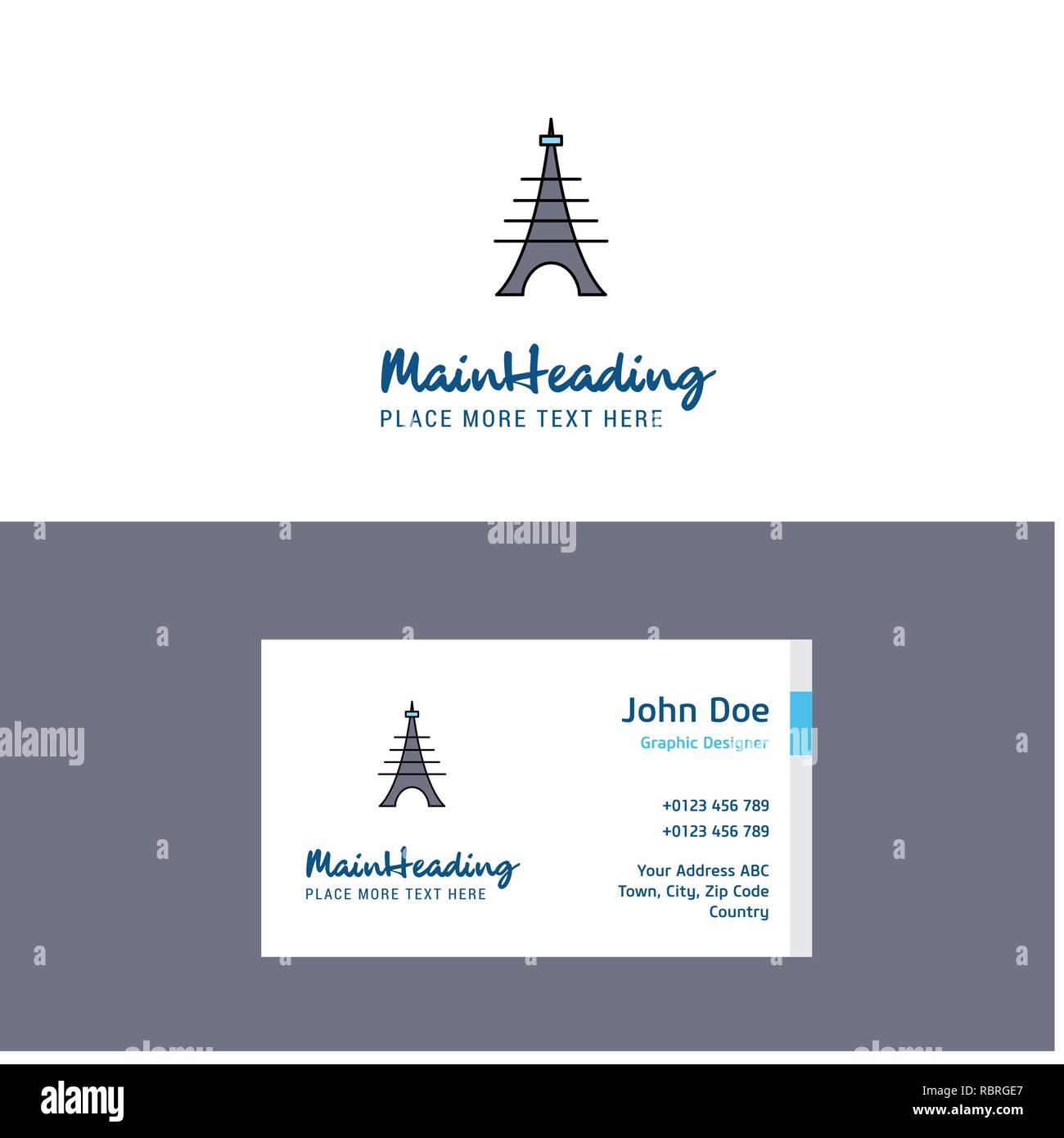 Flat Eiffel tower Logo and Visiting Card Template. Busienss Concept Logo Design - Stock Vector