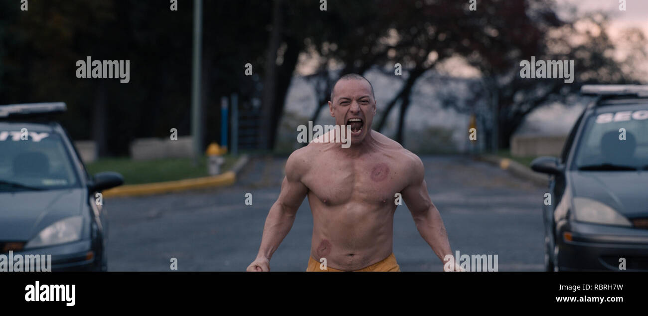 James McAvoy as The Beast, one of the 23 personalities that reside inside Kevin Wendell Crumb in 'Glass,' written and directed by M. Night Shyamalan. Photo Credit: Universal Pictures / The Hollywood Archive - Stock Image