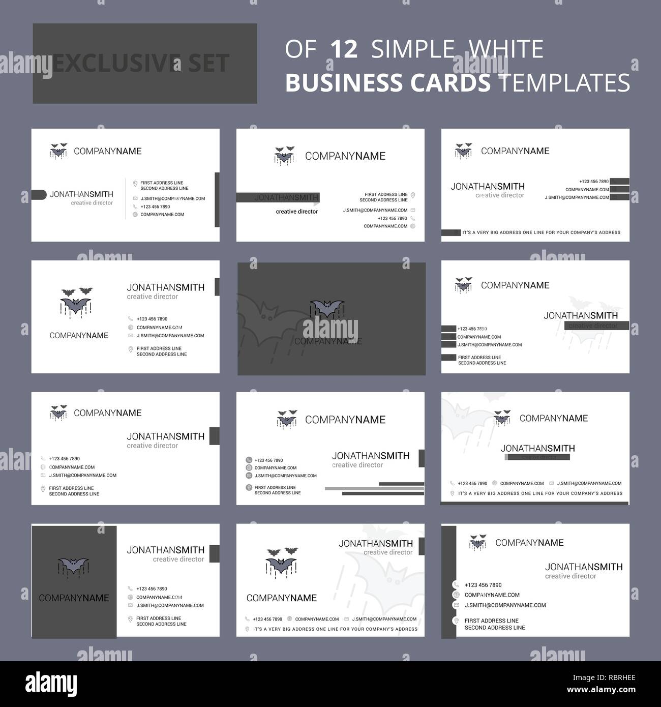 Bat Bus 12 >> Set Of 12 Bat Creative Busienss Card Template Editable Creative
