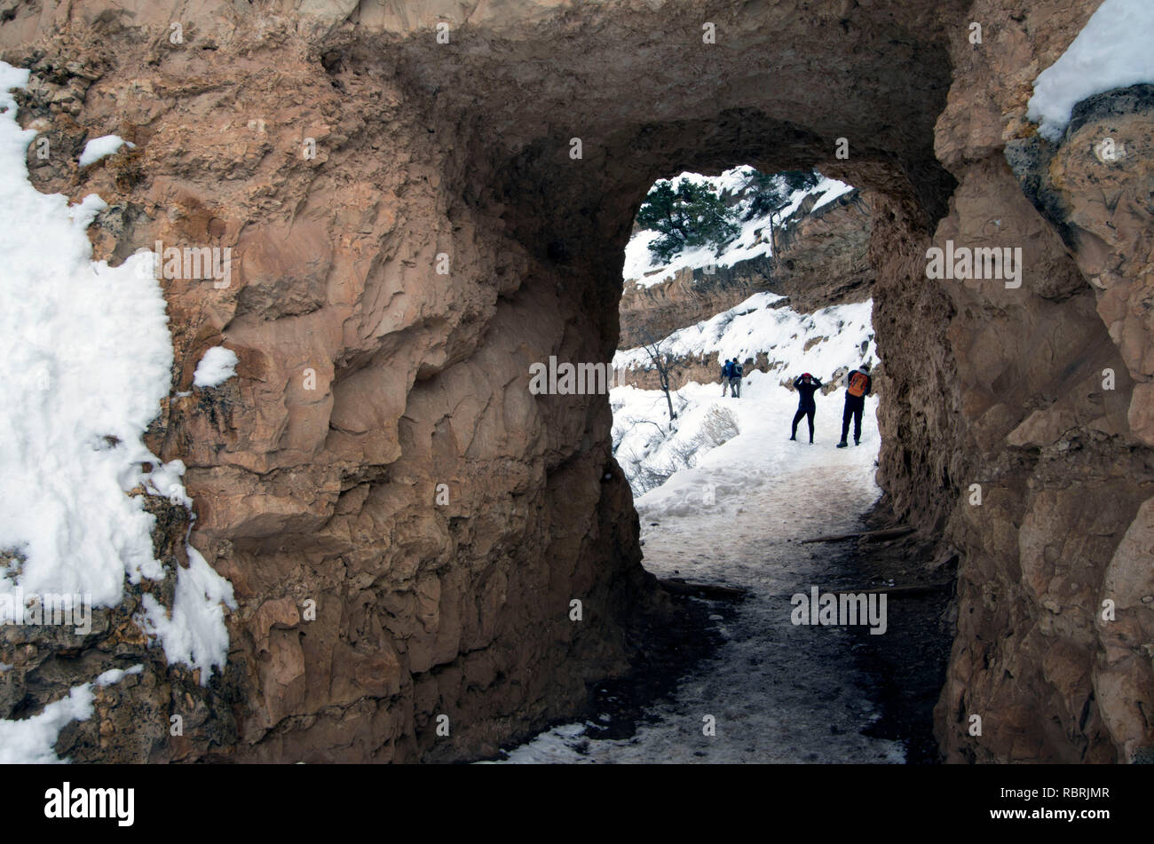 The Bright Angel Trailhead in the Grand Canyon is one of the park's most popular trails. This tunnel is within the first five minutes of the hike. - Stock Image