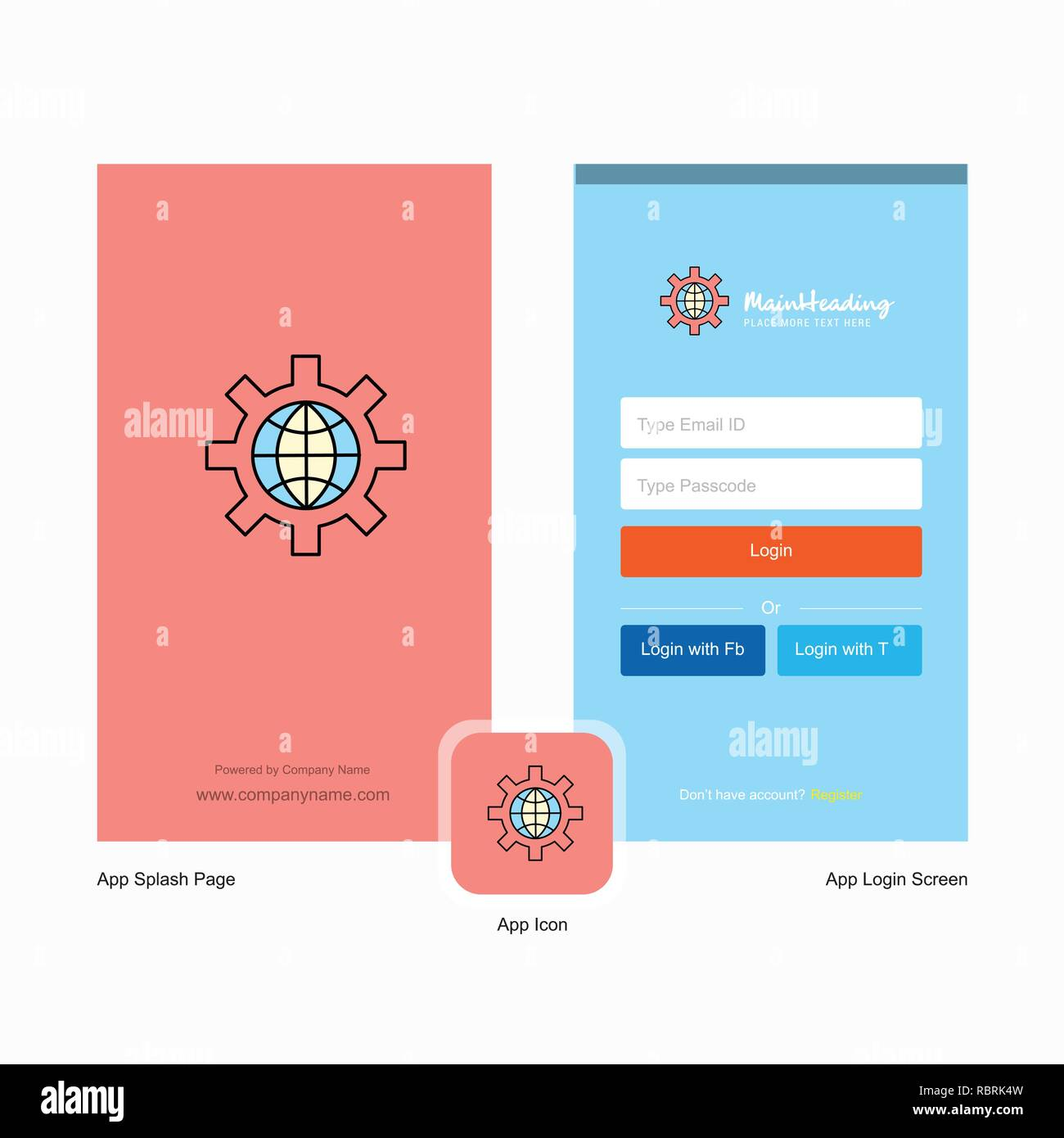 Company Internet setting Splash Screen and Login Page design with