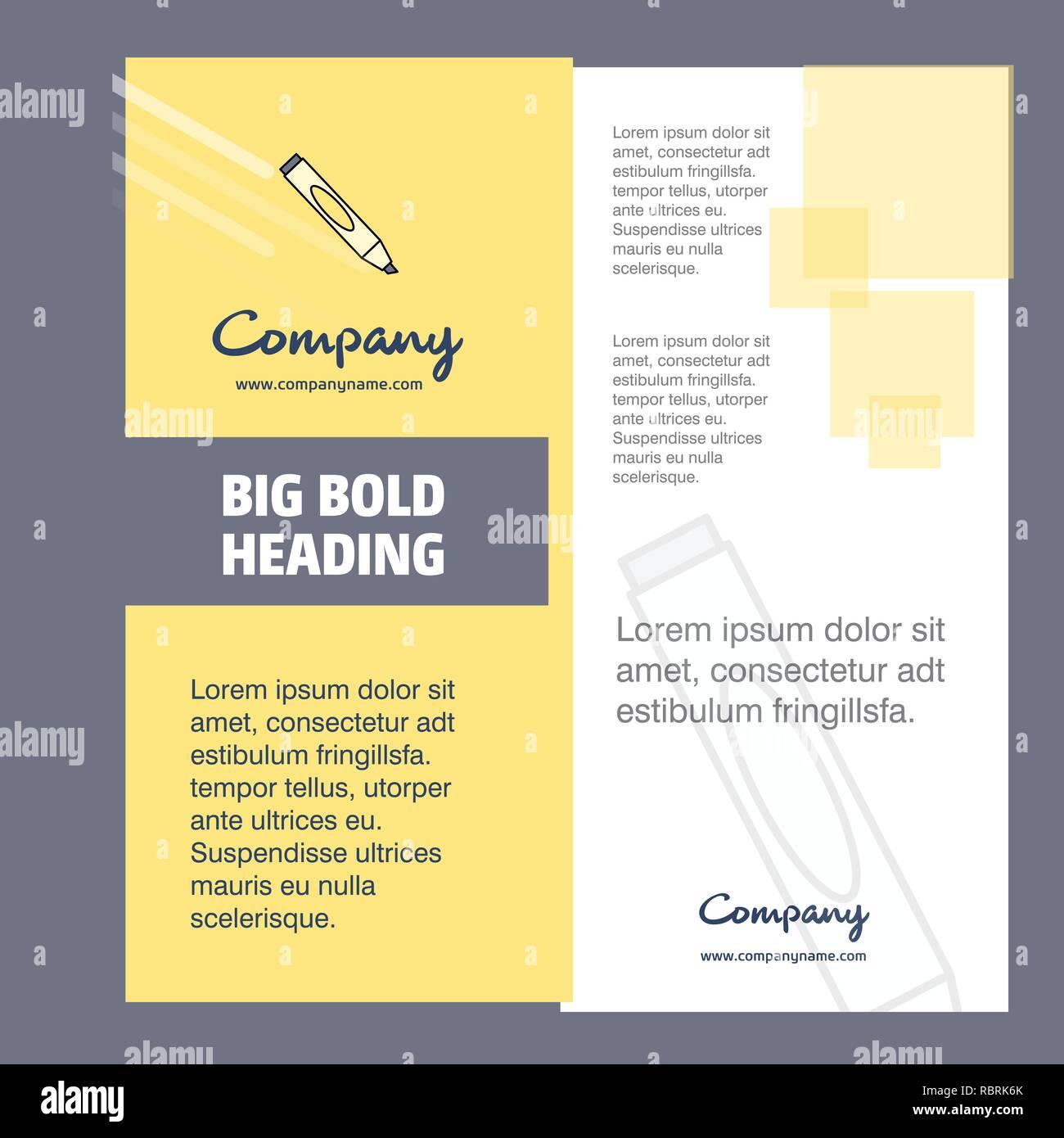 Marker Company Brochure Title Page Design  Company profile