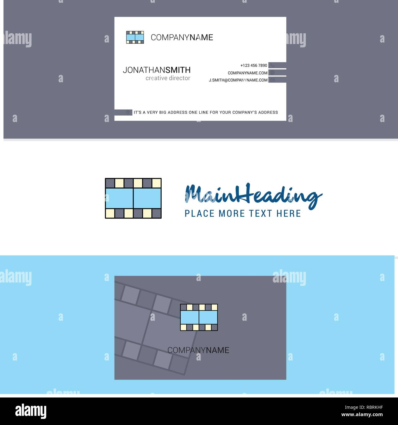 Beautiful Film Logo and business card. vertical Design Vector - Stock Vector