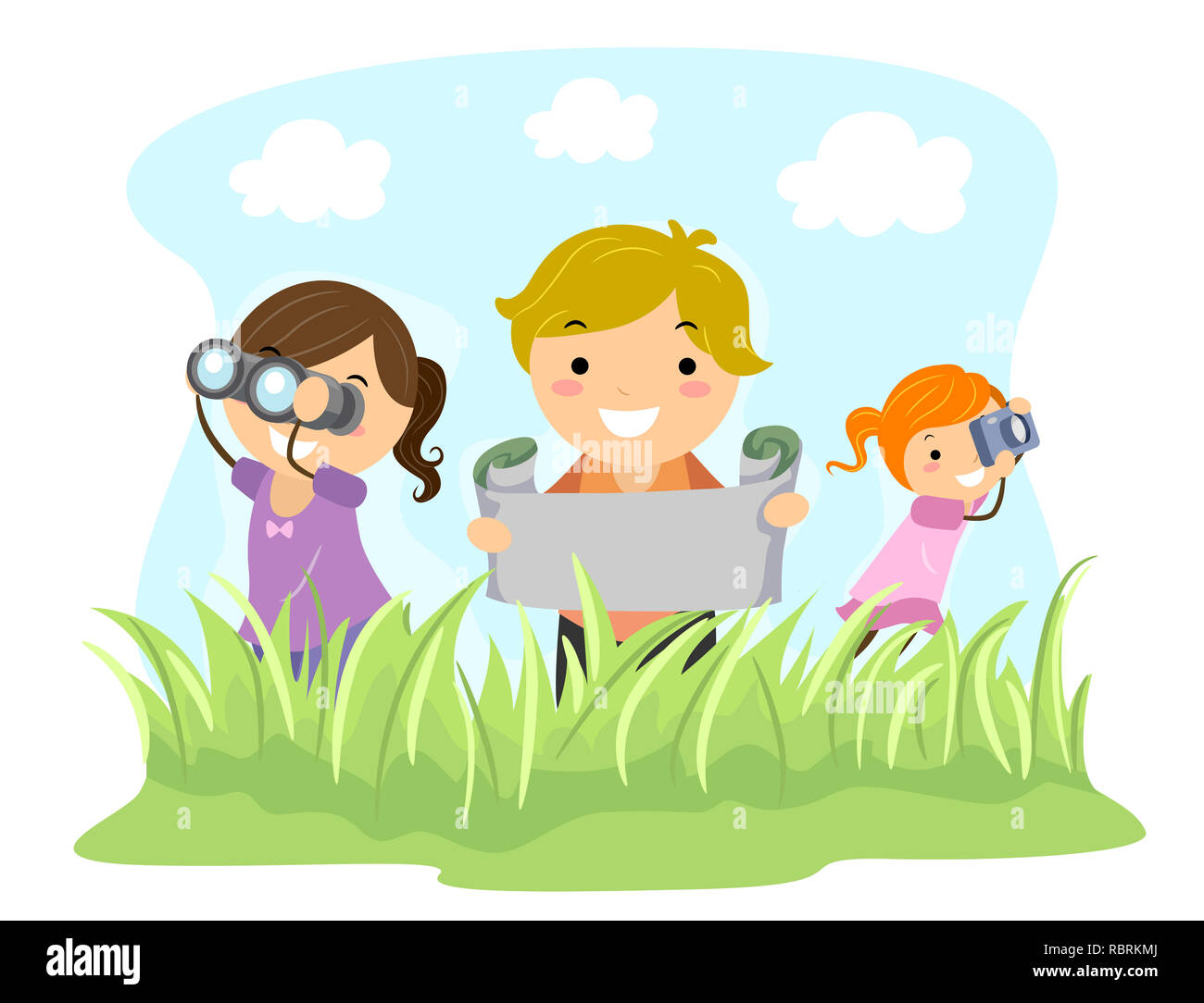 Illustration of Stickman Kids Holding Binoculars, Map and Camera Exploring Outdoors - Stock Image