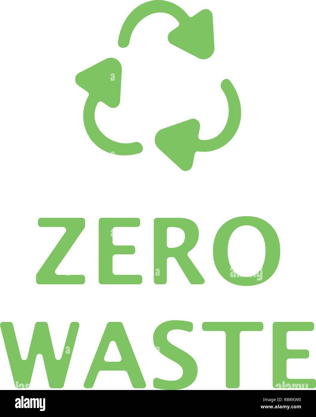 Zero waste text with green recycling sign isolated on white background. Zero landfill concept illustration flat style - Stock Vector