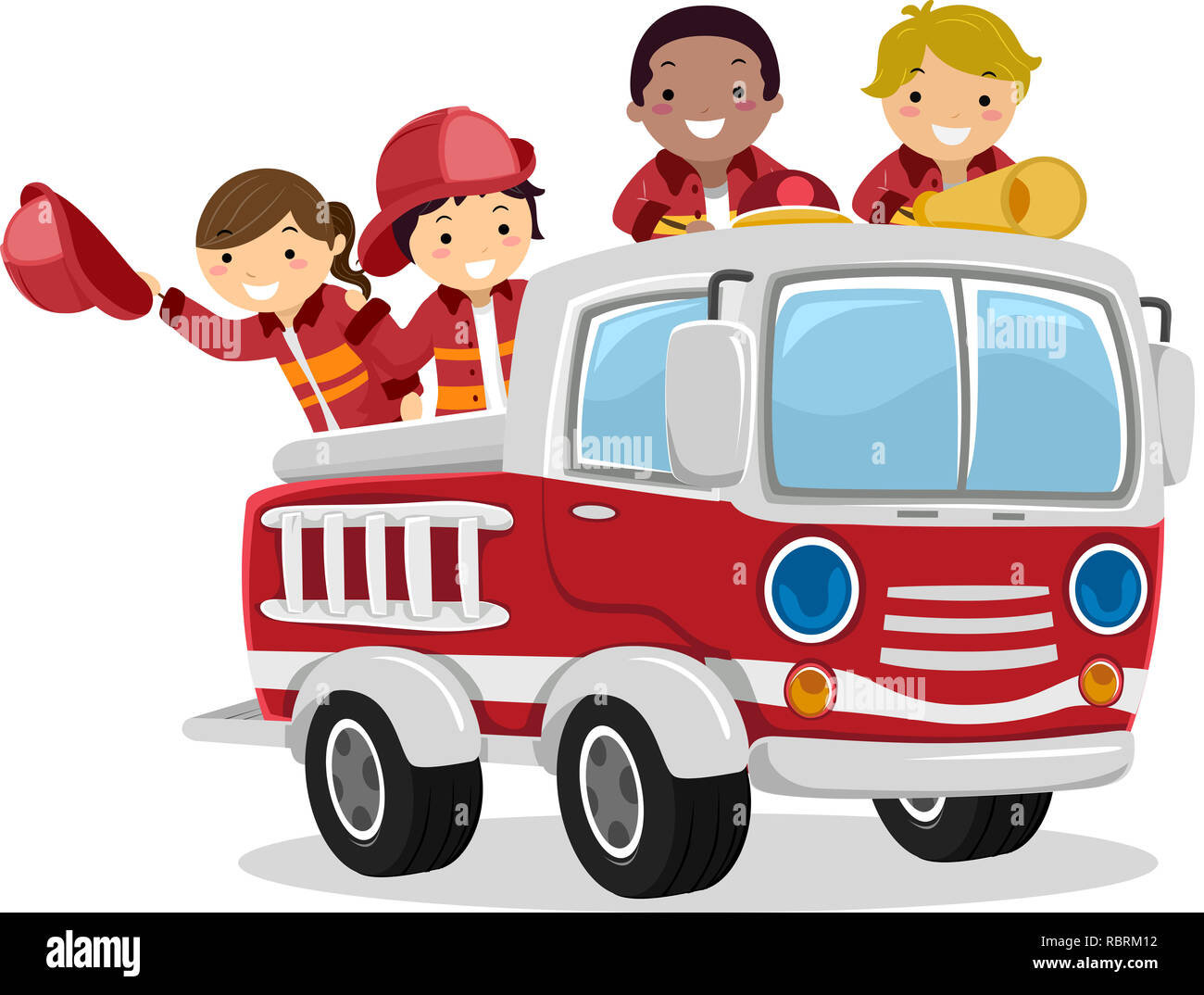 Illustration of Stickman Kids as Fireman Riding a Fire Truck Stock