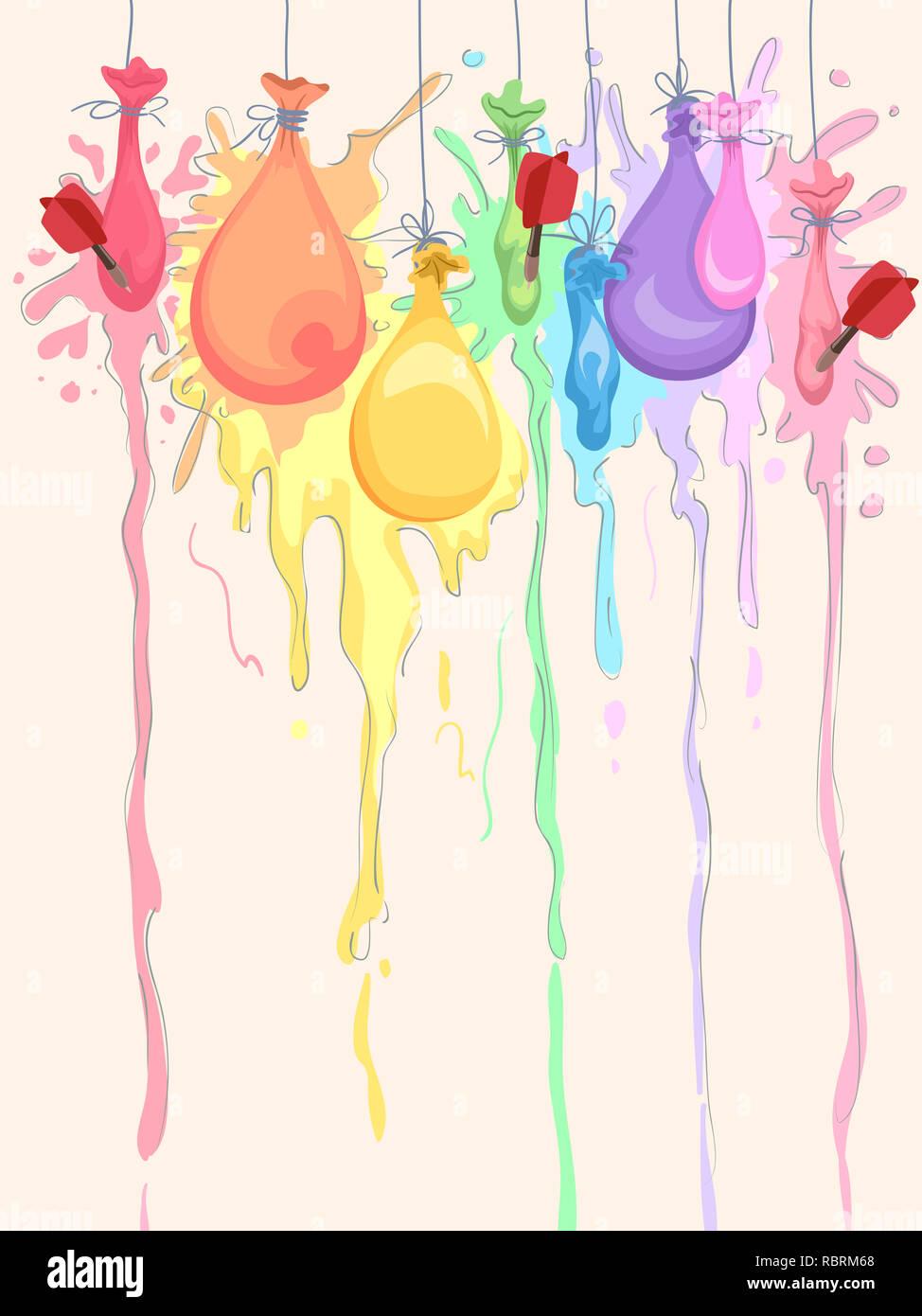 Illustration Of Darts Popping Paint Balloons To Create Art Stock Photo Alamy