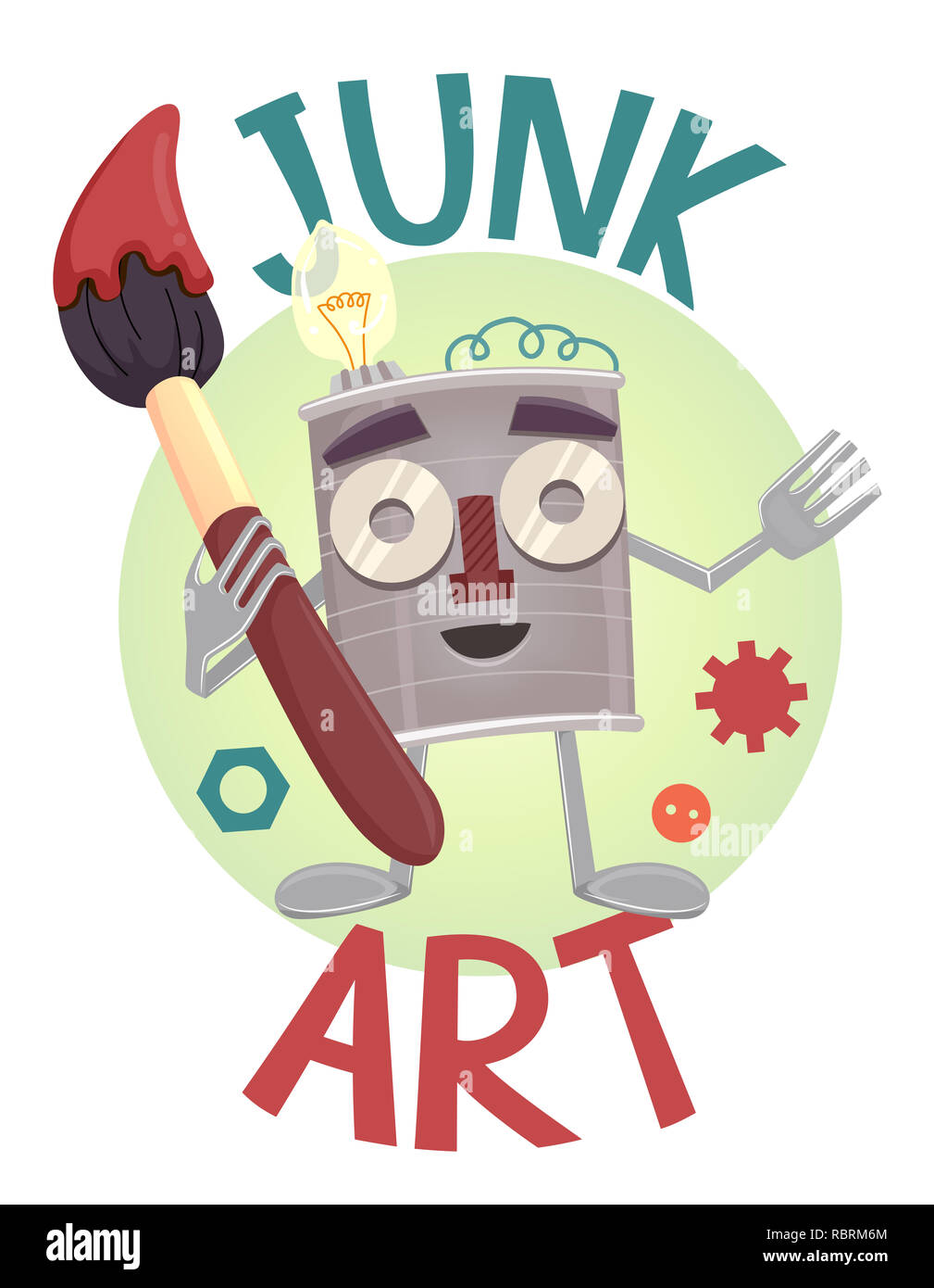 Illustration of a Tin Can Mascot with Fork and Spoon Hands and Feet Holding a Paintbrush with Junk Art Lettering - Stock Image