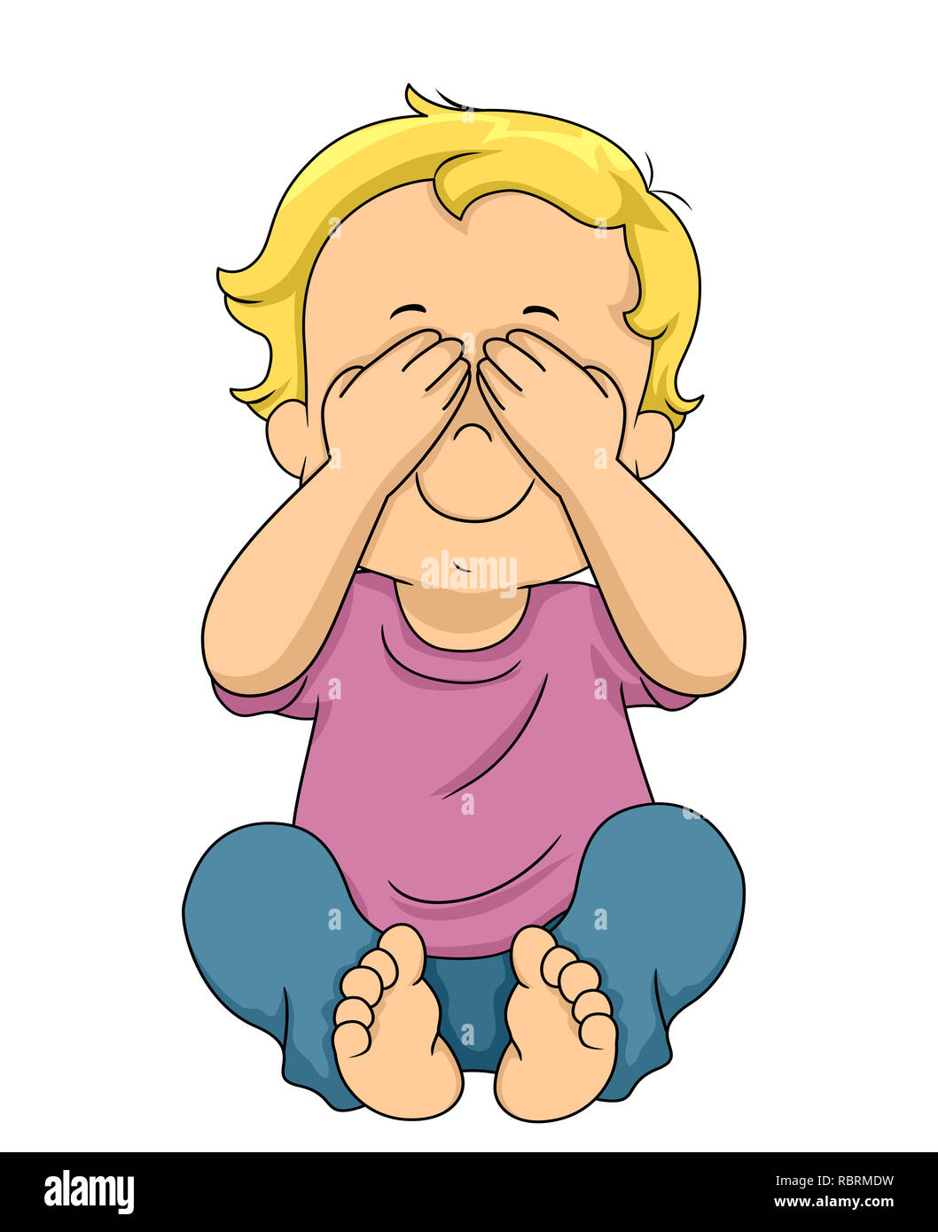 Illustration of a Kid Boy Toddler Covering His Eyes Playing Peekaboo or Hide and Seek - Stock Image