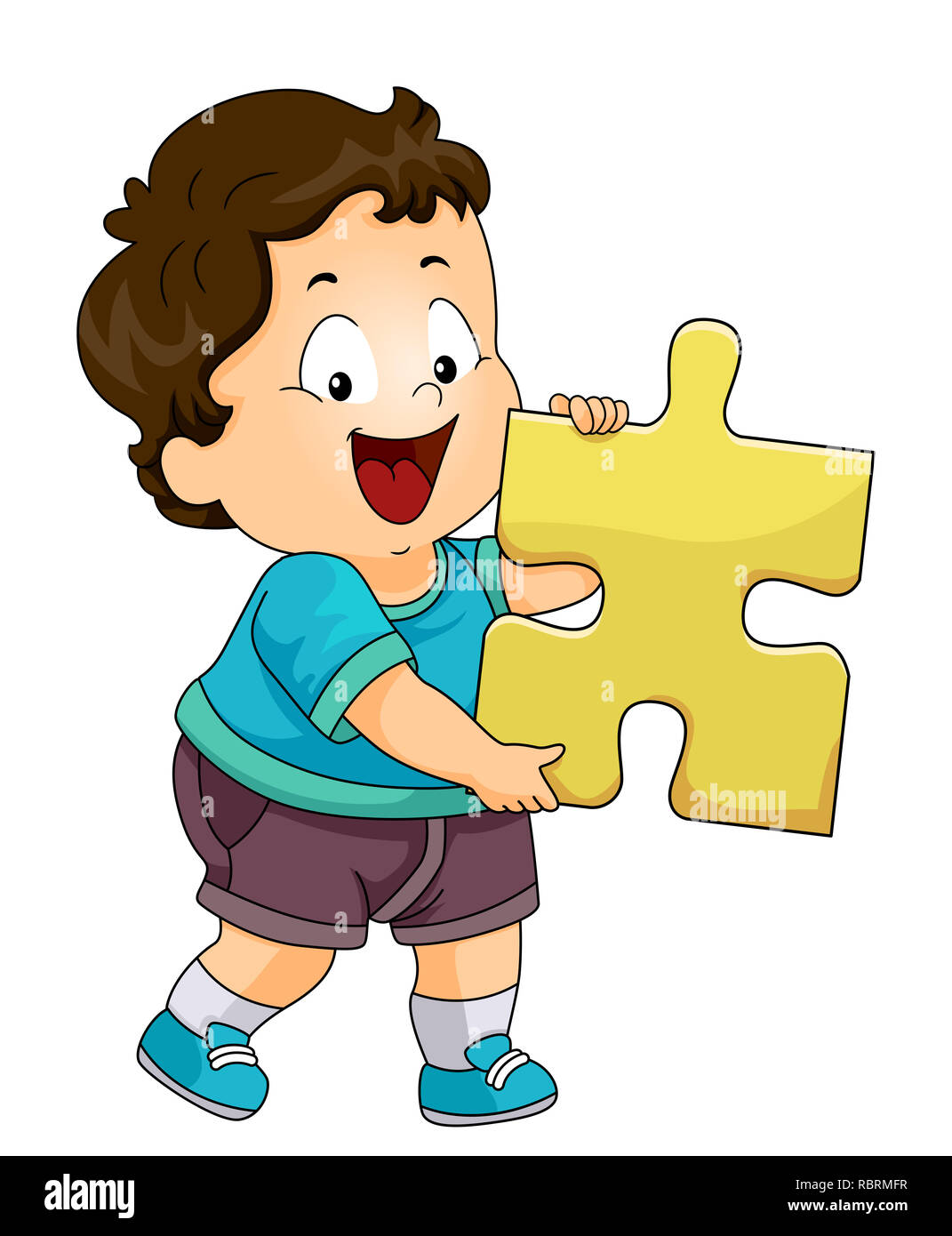 Illustration of a Kid Boy Toddler Holding a Big Puzzle Piece