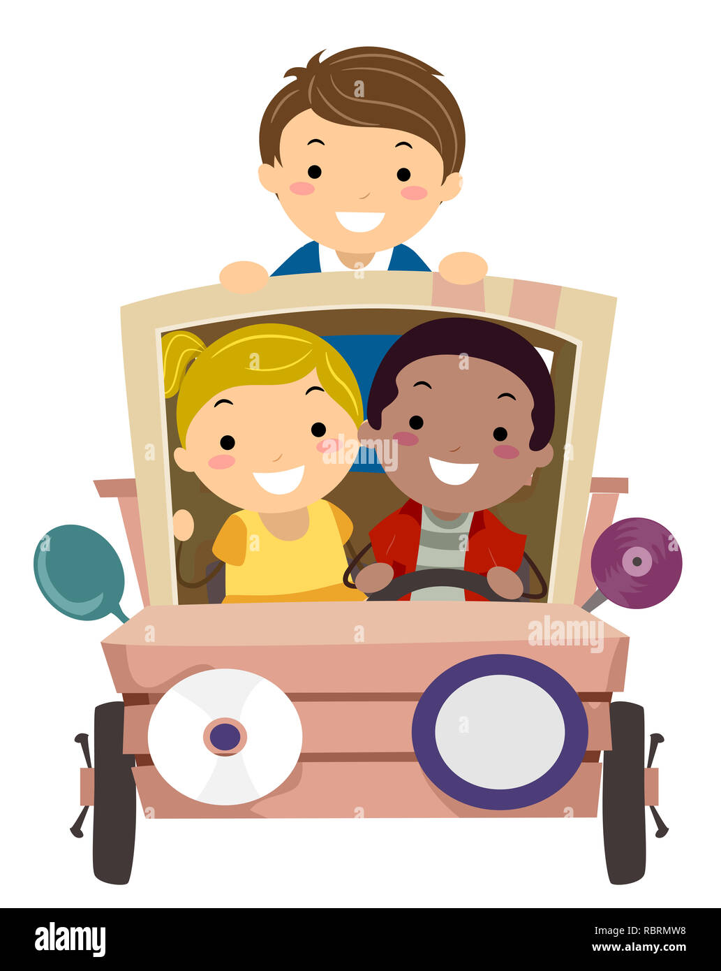 Illustration of Stickman Kids Riding a Car Recycled from Junk - Stock Image