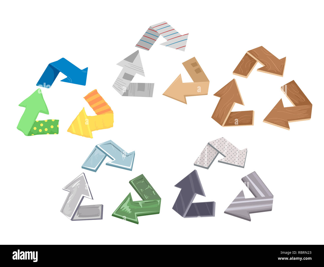 Illustration of Recycle Symbol Made from Different Materials from Paper, Cardboard, Fabric, Metal and Glass - Stock Image