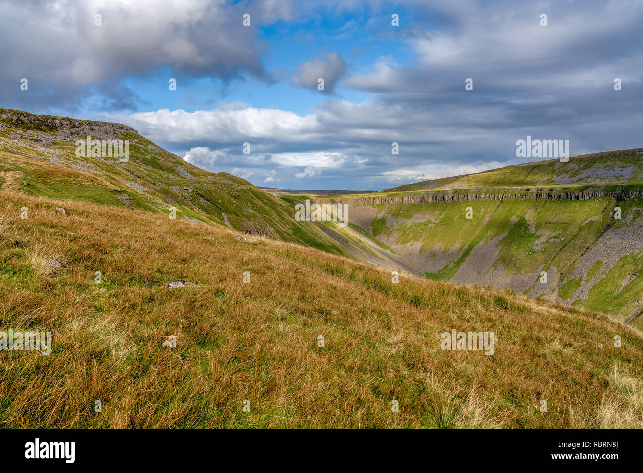 North Pennines landscape at the High Cup Nick in Cumbria, England, UK - Stock Image