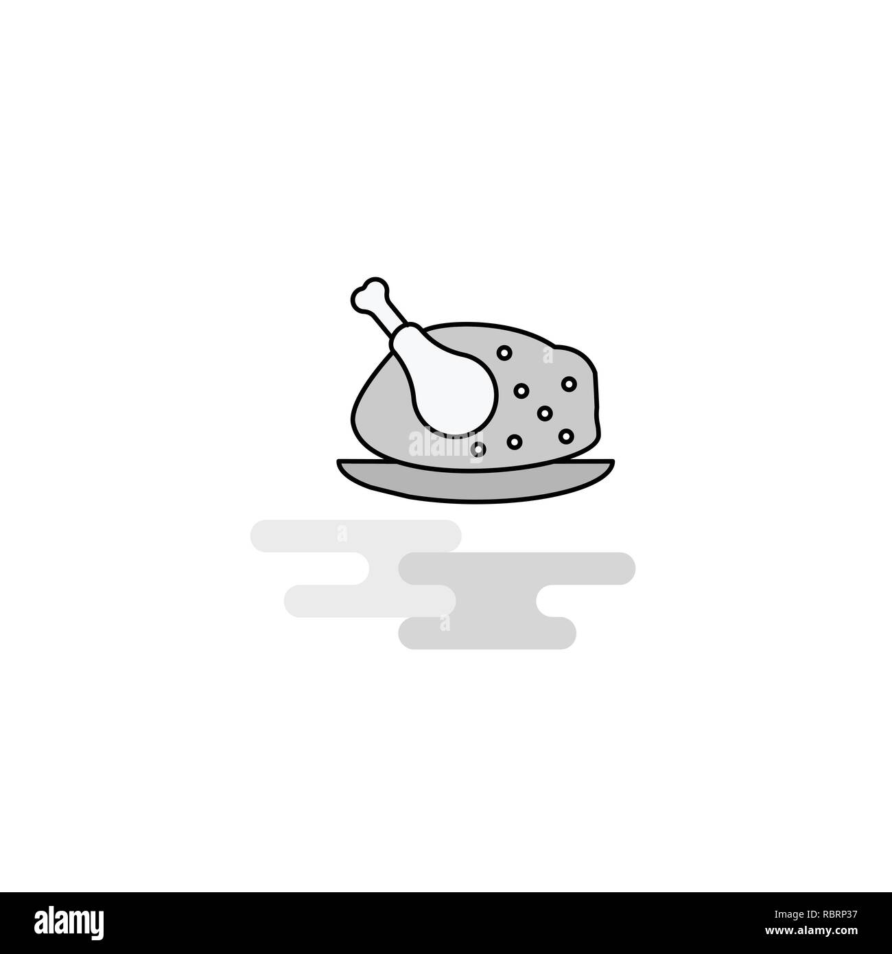 Chicken meat Web Icon. Flat Line Filled Gray Icon Vector Stock Vector