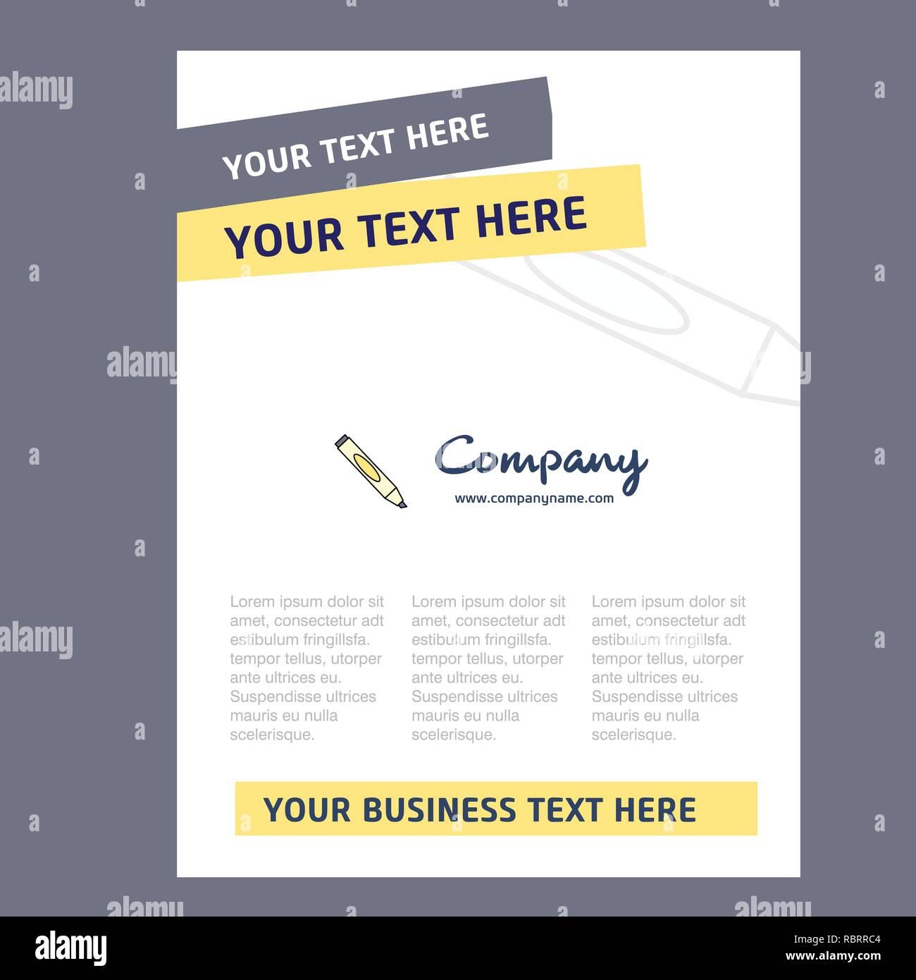 Marker Title Page Design for Company profile ,annual report
