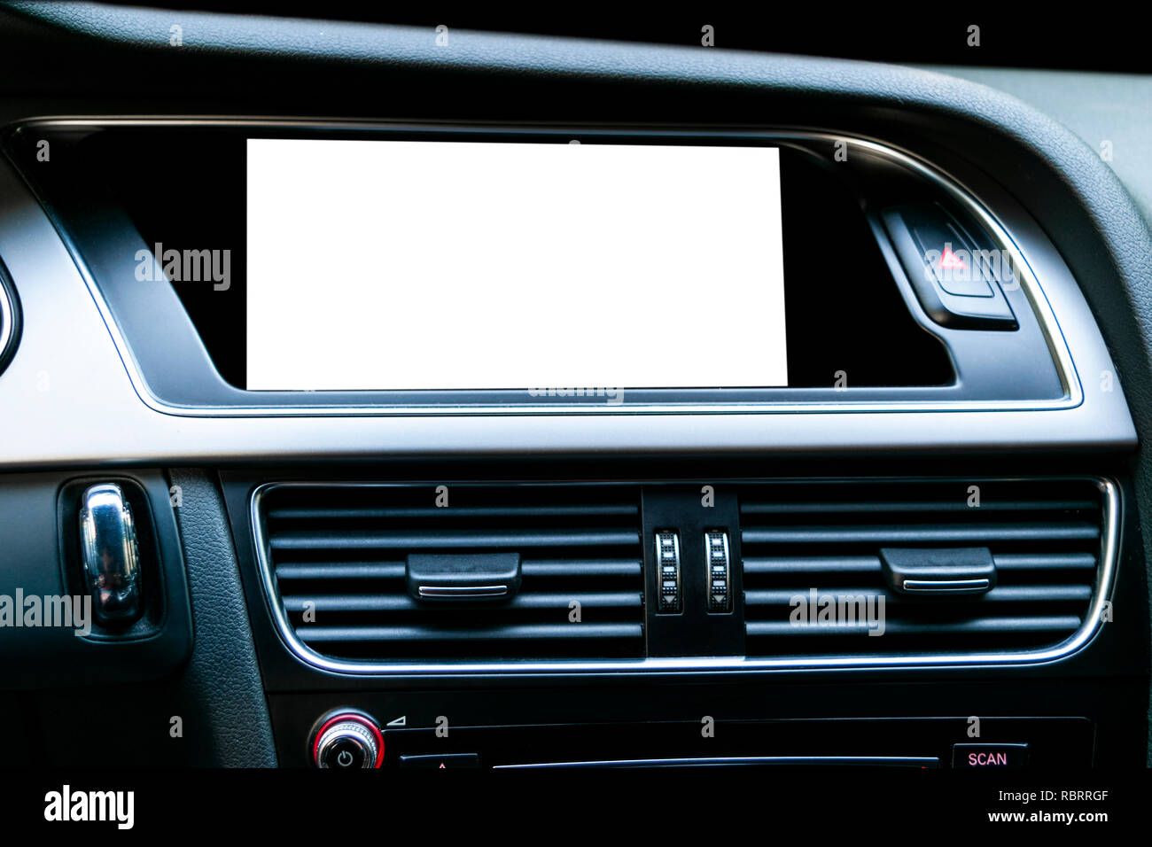 Monitor in car with isolated blank screen use for navigation maps and GPS. Isolated on white with clipping path. Car detailing. Modern car interior de - Stock Image