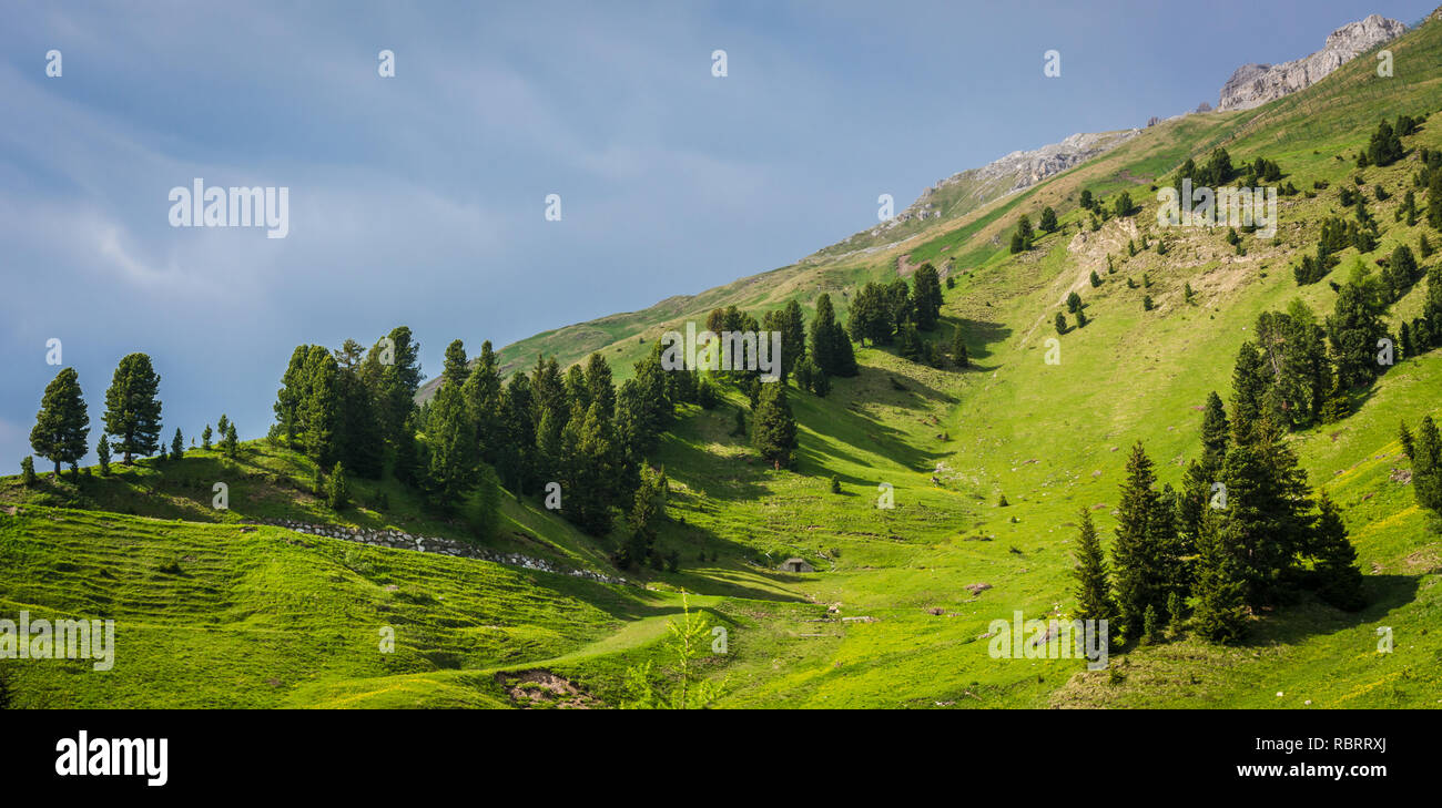 Dolomites Mountains, spring landscape in the The Ege Valley in South Tyrol, Alps, northern Italy, Europe. Ega valley in South Tyrol with its sunny loc - Stock Image