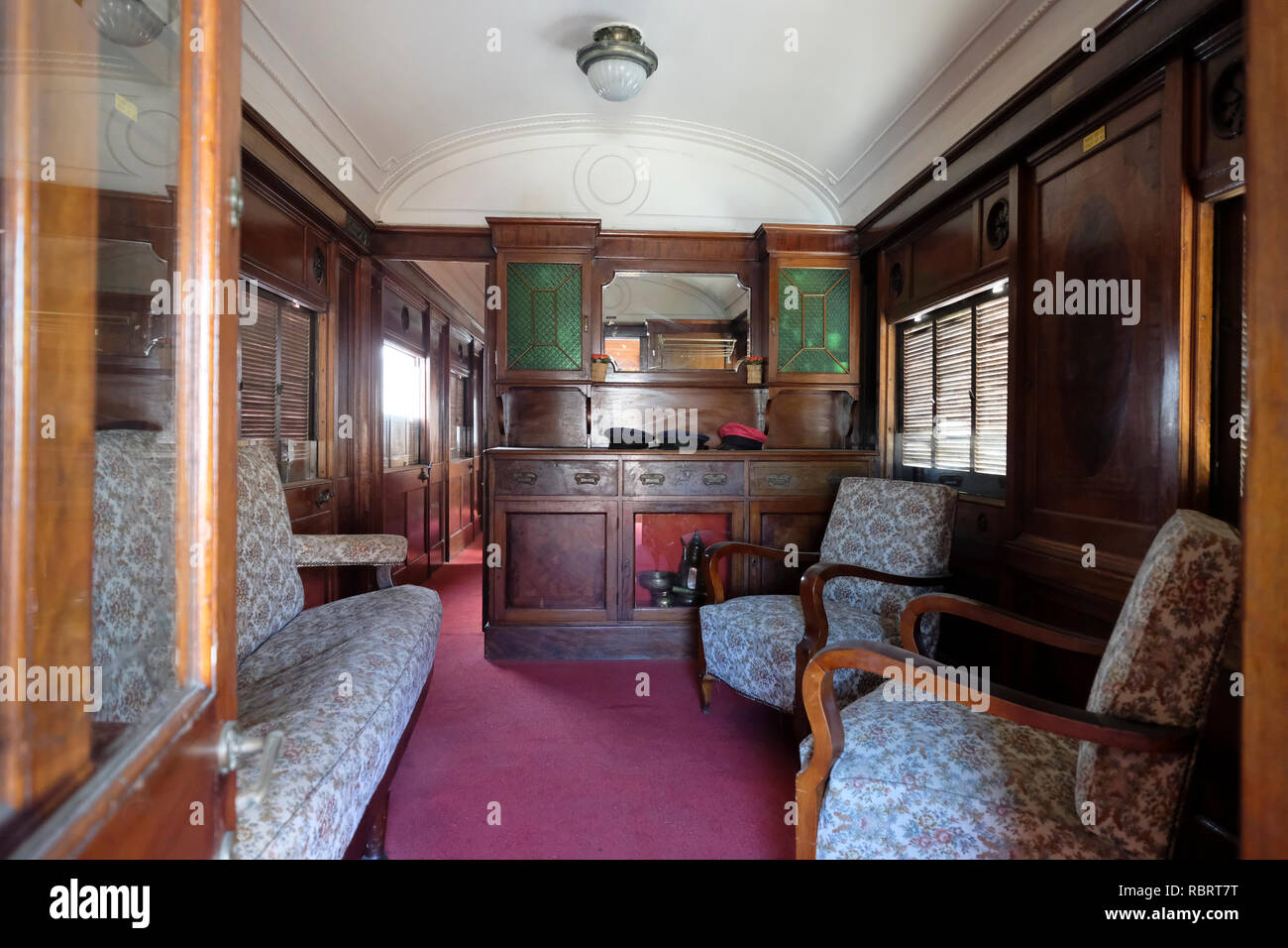 4e183726e1 A compartment inside Palestine Railways saloon coach No. 98 built by the  Birmingham Railway Carriage and ...