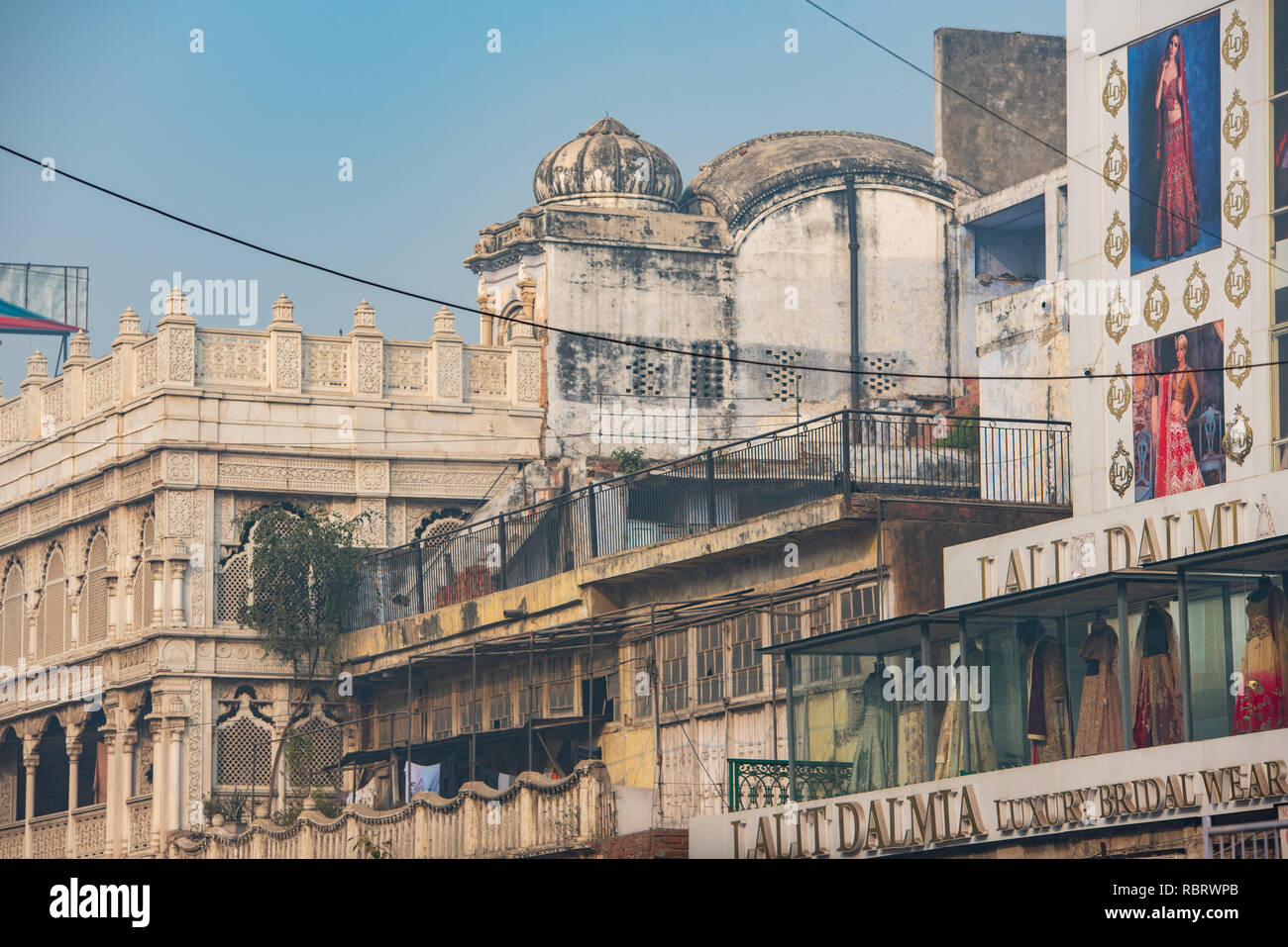 Detail of a street in Chandni Chowk, Delhi, India - Stock Image