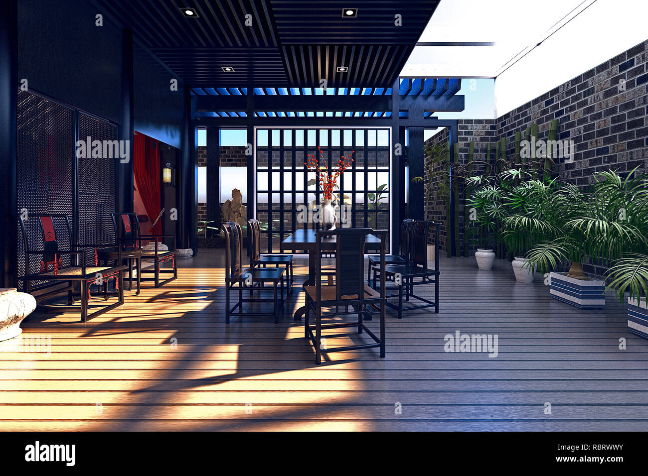 3d render of luxury house exterior at sunset Stock Photo