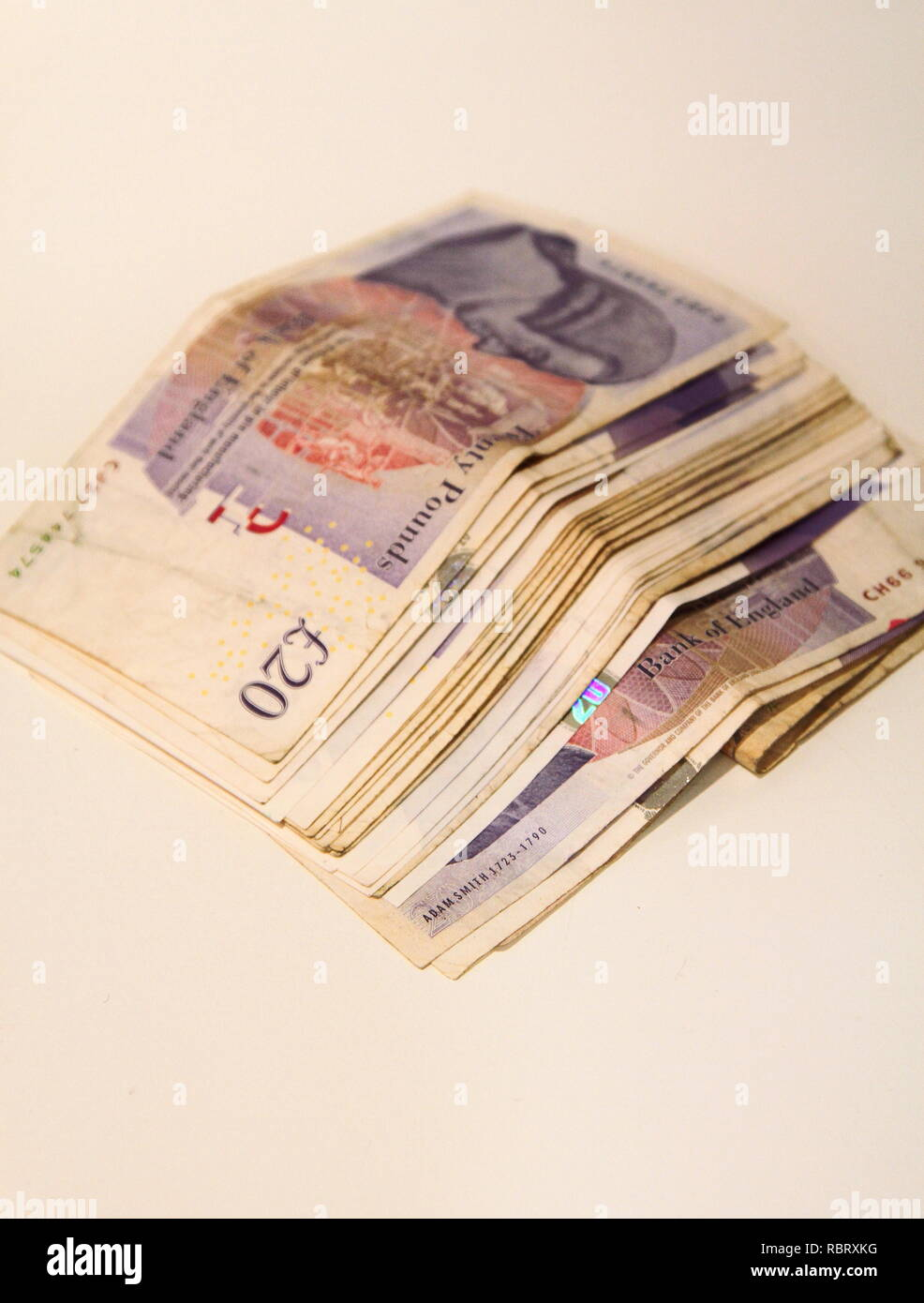 Bank of England bank notes. Cash. Money. Stirling. Bank notes. Wonga. Wad. 20 pound notes. Money of England. Currency. Currency of the United Kingdom. Currency of Great Britain. - Stock Image