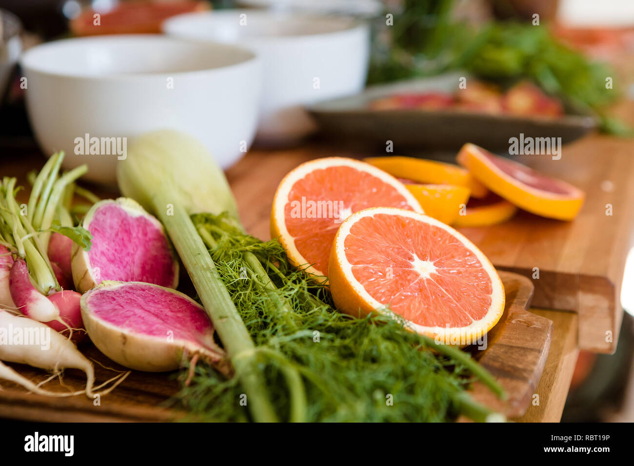 Fresh Ingredients for Marinade and Toppings Laid out in Home Kitchen - Stock Image