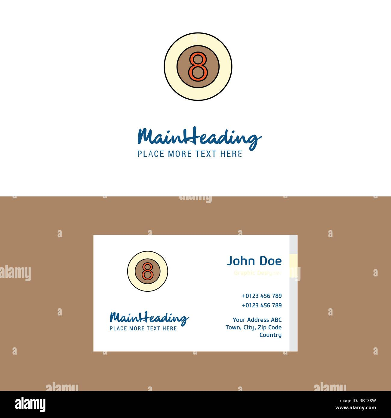 Flat Snooker ball  Logo and Visiting Card Template. Busienss Concept Logo Design - Stock Image