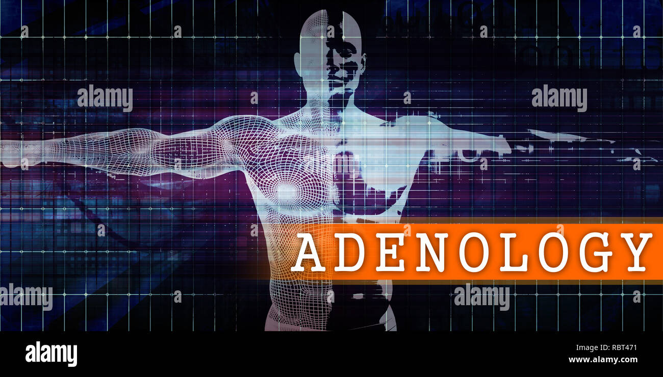 Adenology Medical Industry with Human Body Scan Concept Stock Photo