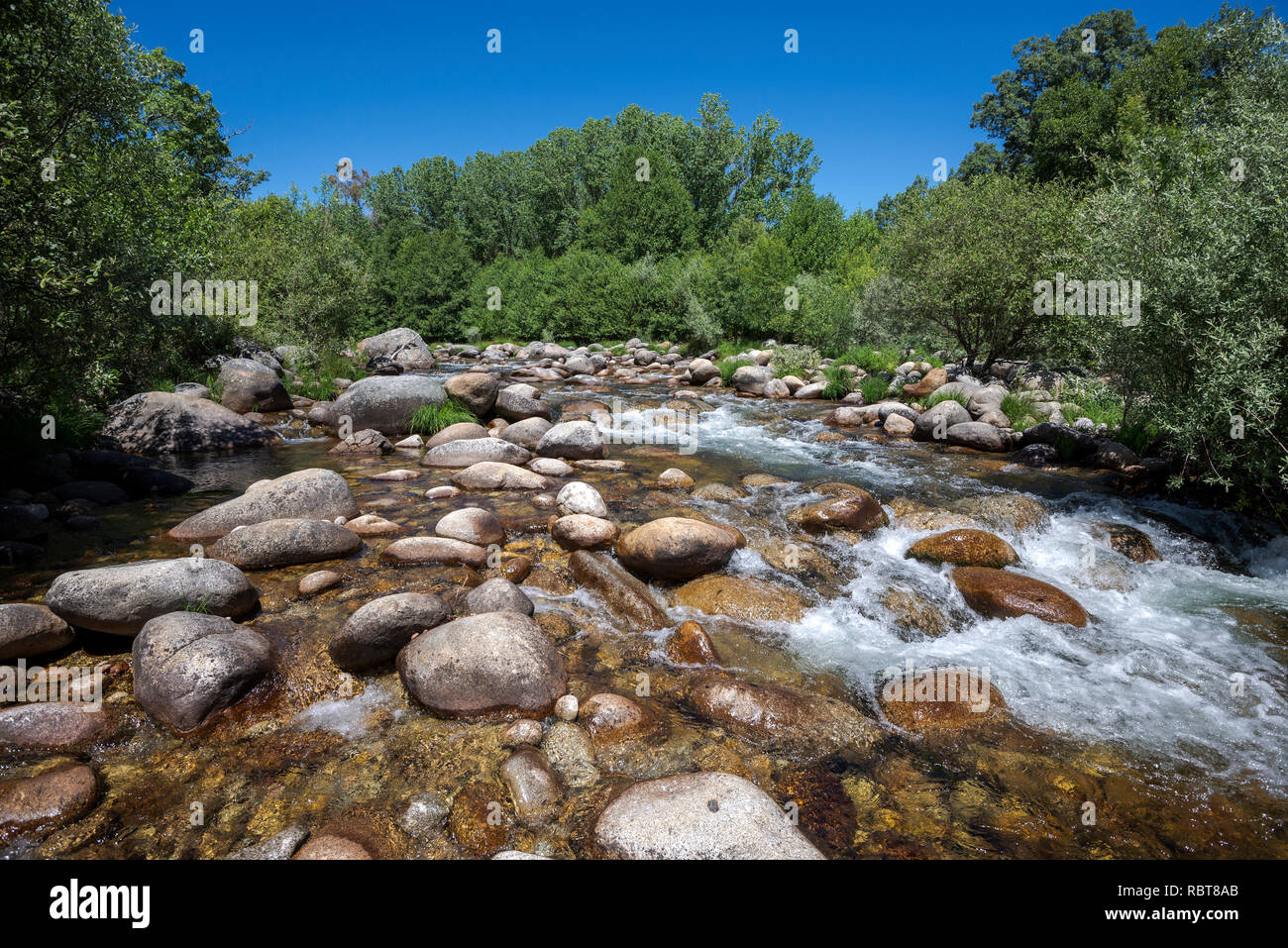 Views of the Minchones Stream, in the region of La Vera, Caceres, Extremadura, Spain Stock Photo