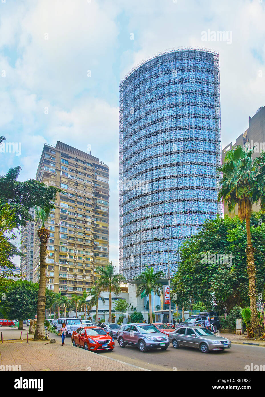 GIZA, EGYPT - DECEMBER 19, 2017: The luxury modern building of the Royal Embassy of Saudi Arabia, located in Al Yaman street adjacent to the Nile rive - Stock Image