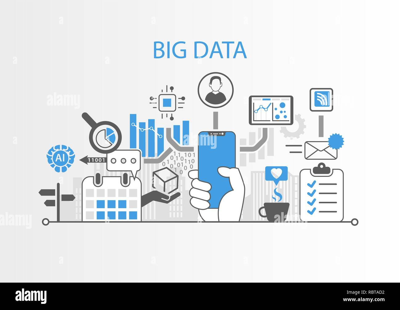 Big data concept with hand holding modern bezel free smart phone Stock Vector