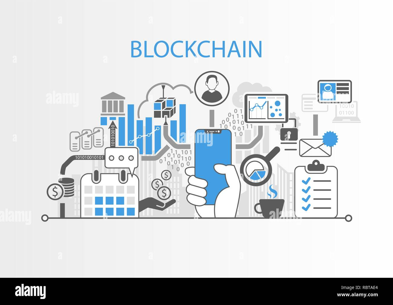 Blockchain concept with hand holding modern bezel free smart phone Stock Vector